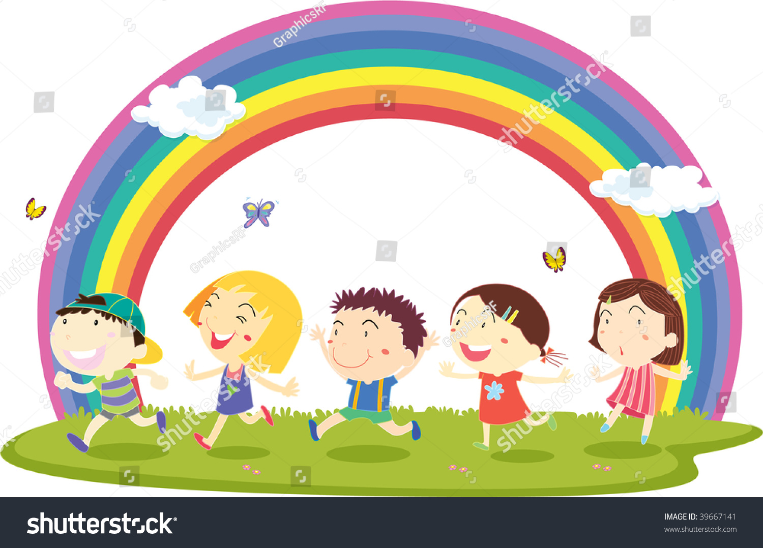 Illustration Of Kids On Rainbow Background 39667141