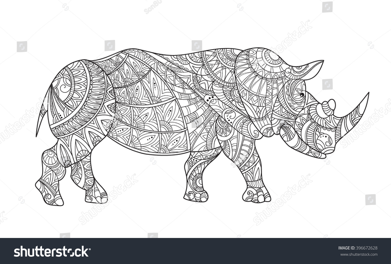 Drawing Zentangle Rhino Coloring Page Rhinoceros Stock Vector ...