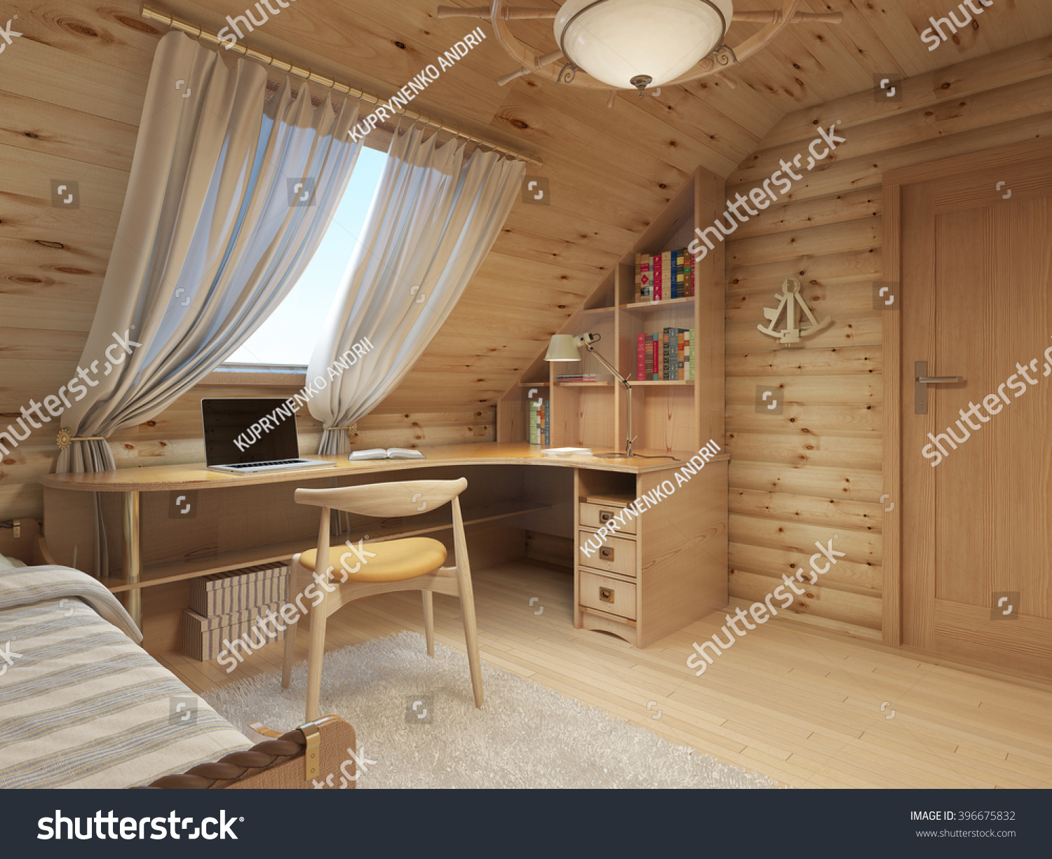 Log Interior Room For A Teenager From The Timber In A Marine Style And