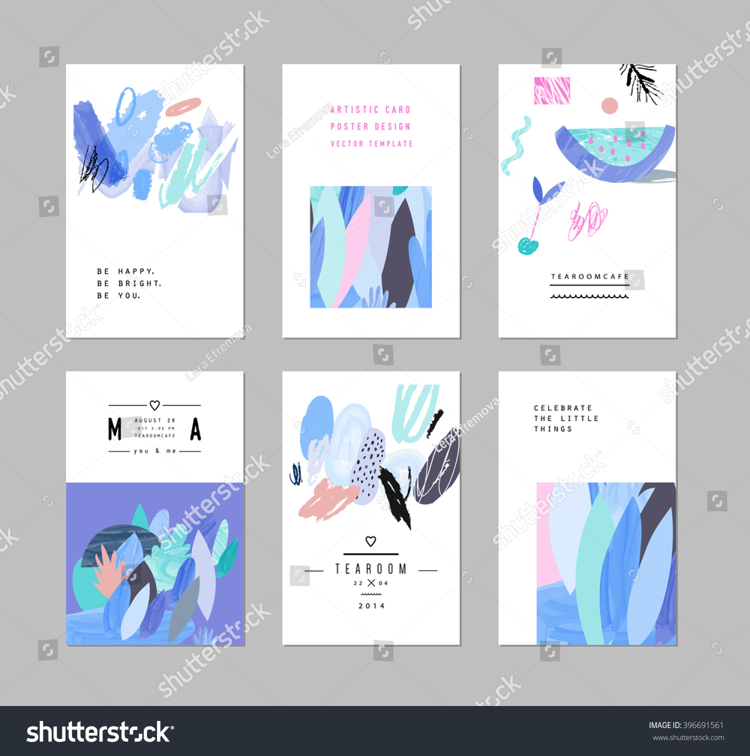 Elements of a poster design - Collection Of Creative Cards And Posters With Floral Elements Hand Drawn Textures Design For