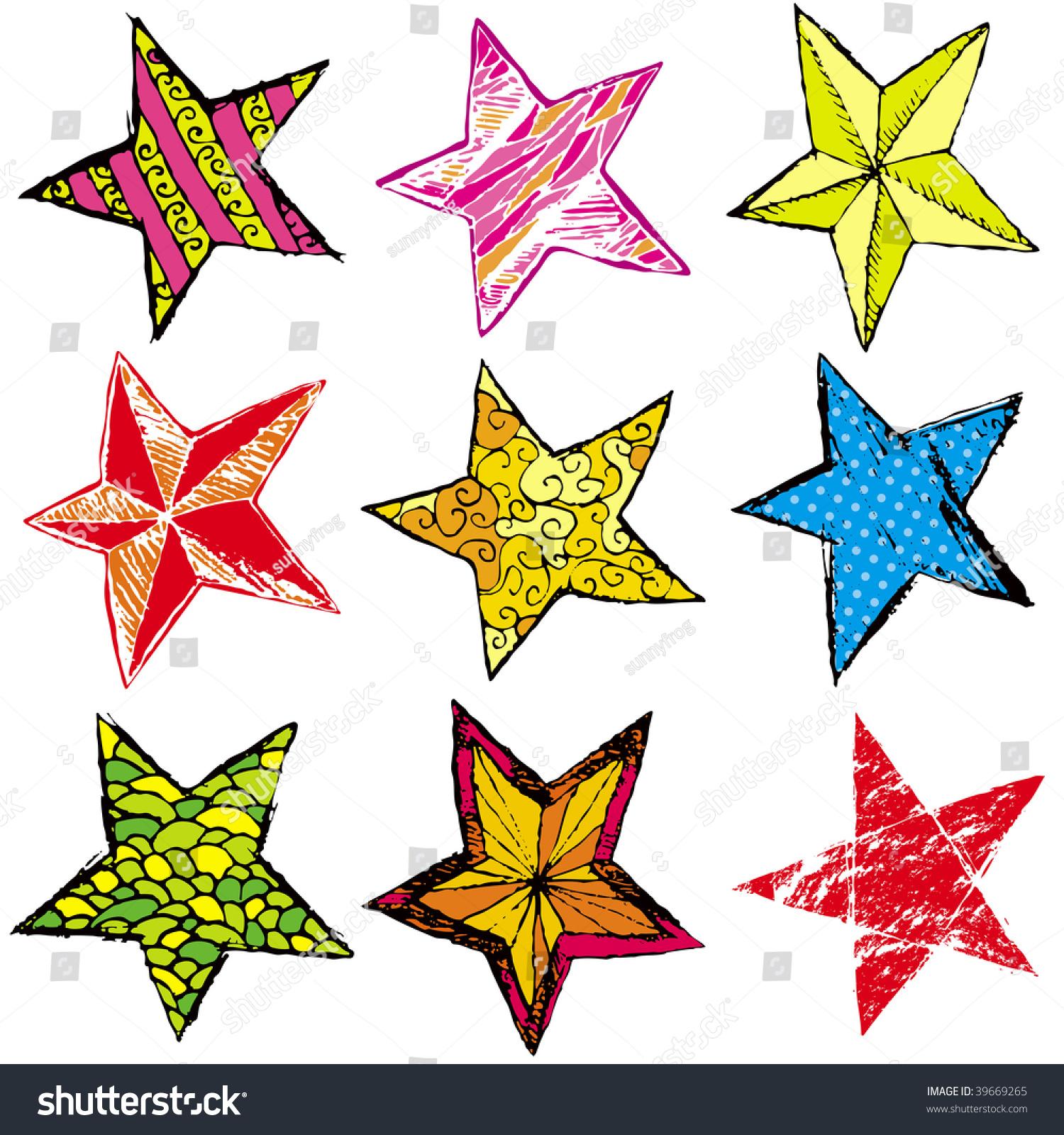 Nine hand draw christmas star vector stock