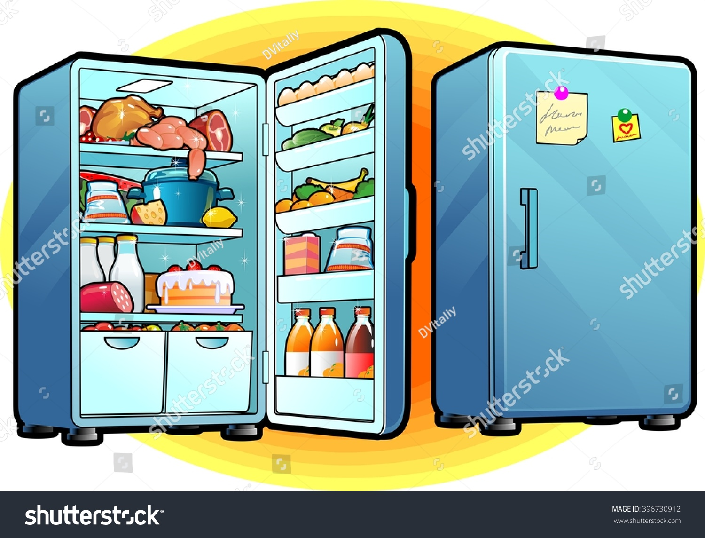 Refrigerator Full Food Closed Opened Cartoon Stock Vector 396730912 ...