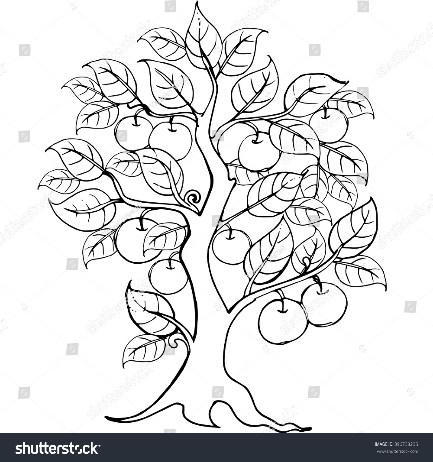 Hands Drawing Apple Tree Anti Stress Stock Vector