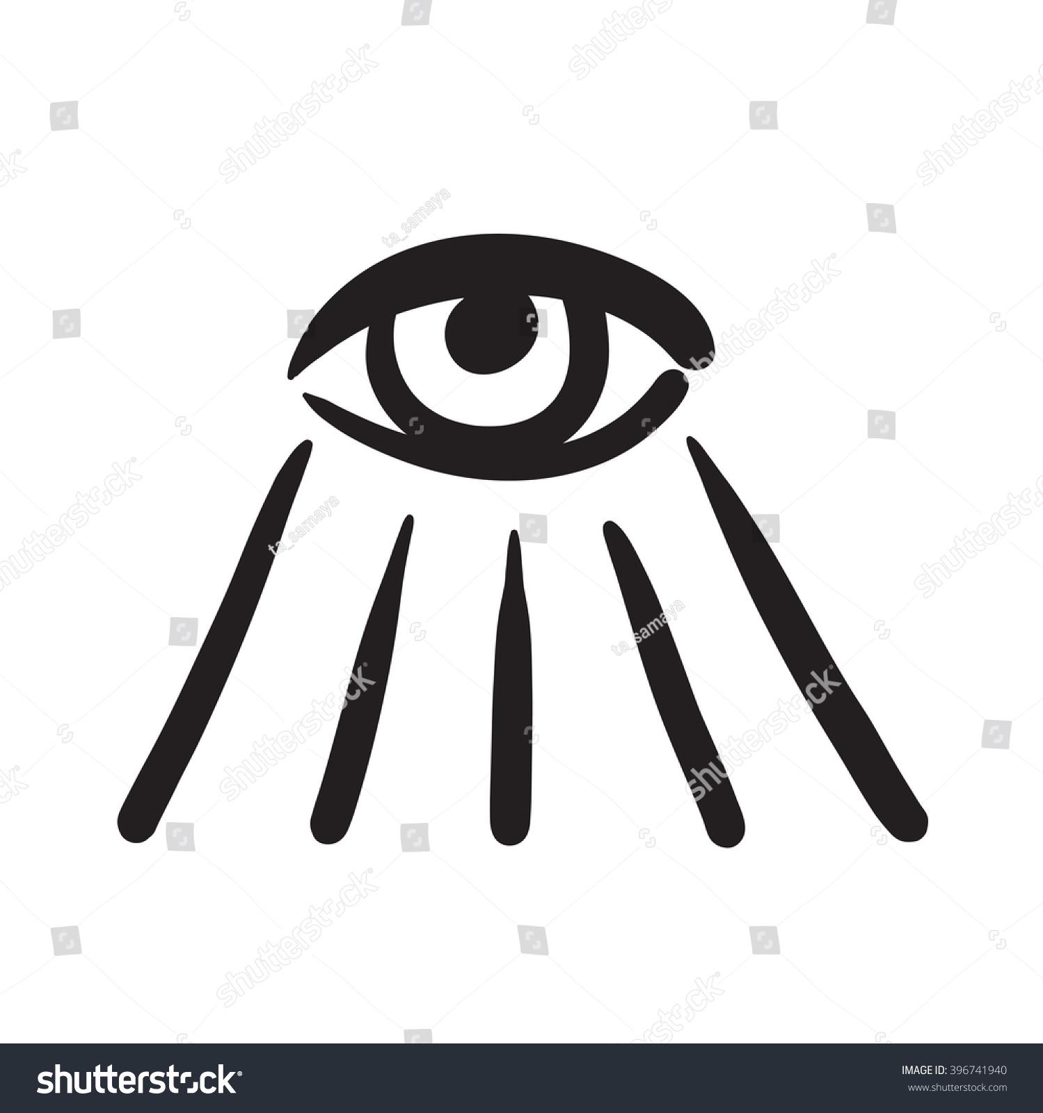 Hand Drawn Eye Symbol Icon Illustration Stock Illustration 396741940