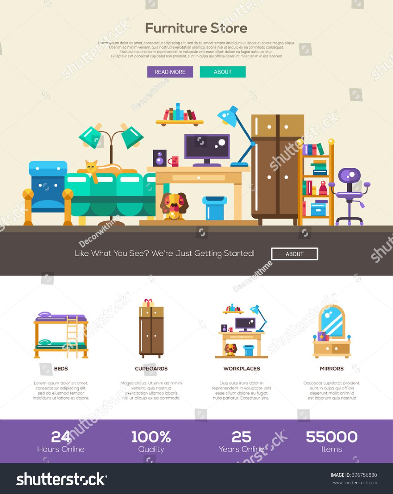 house interior domestic furniture online store stock vector 396756880 shutterstock. Black Bedroom Furniture Sets. Home Design Ideas