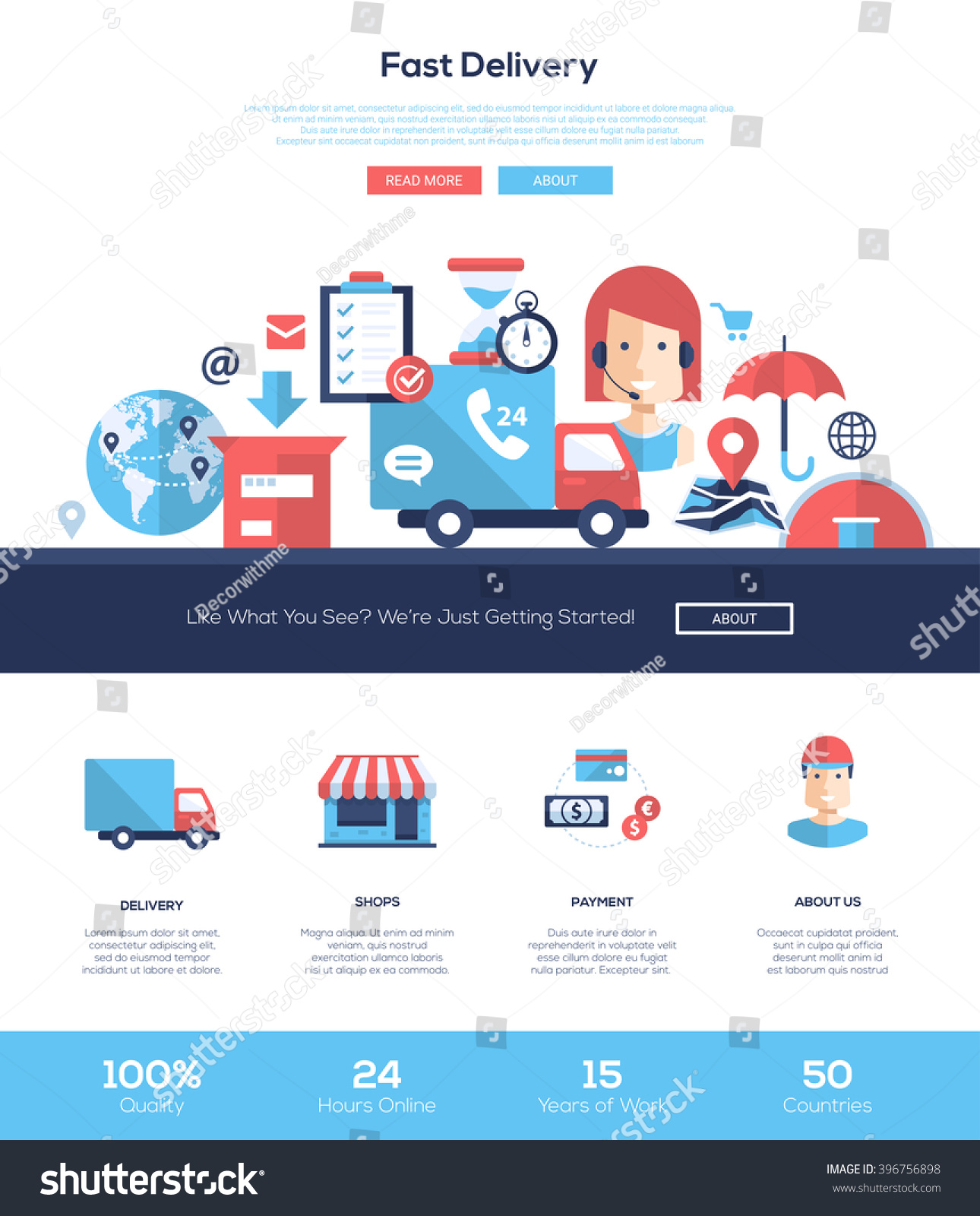 Fast Delivery Services One Page Website Stock Photo (Photo, Vector ...