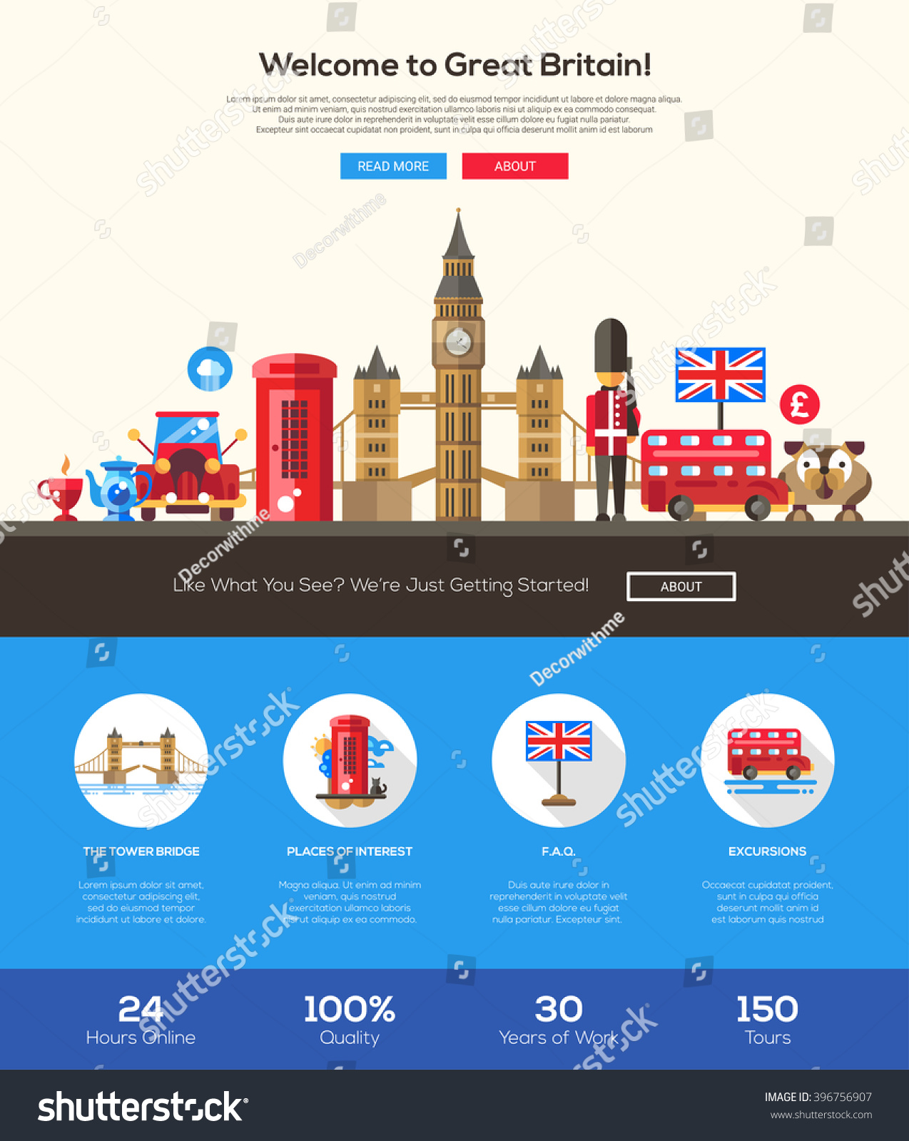 html welcome page template - welcome to great britain travel web site one page website