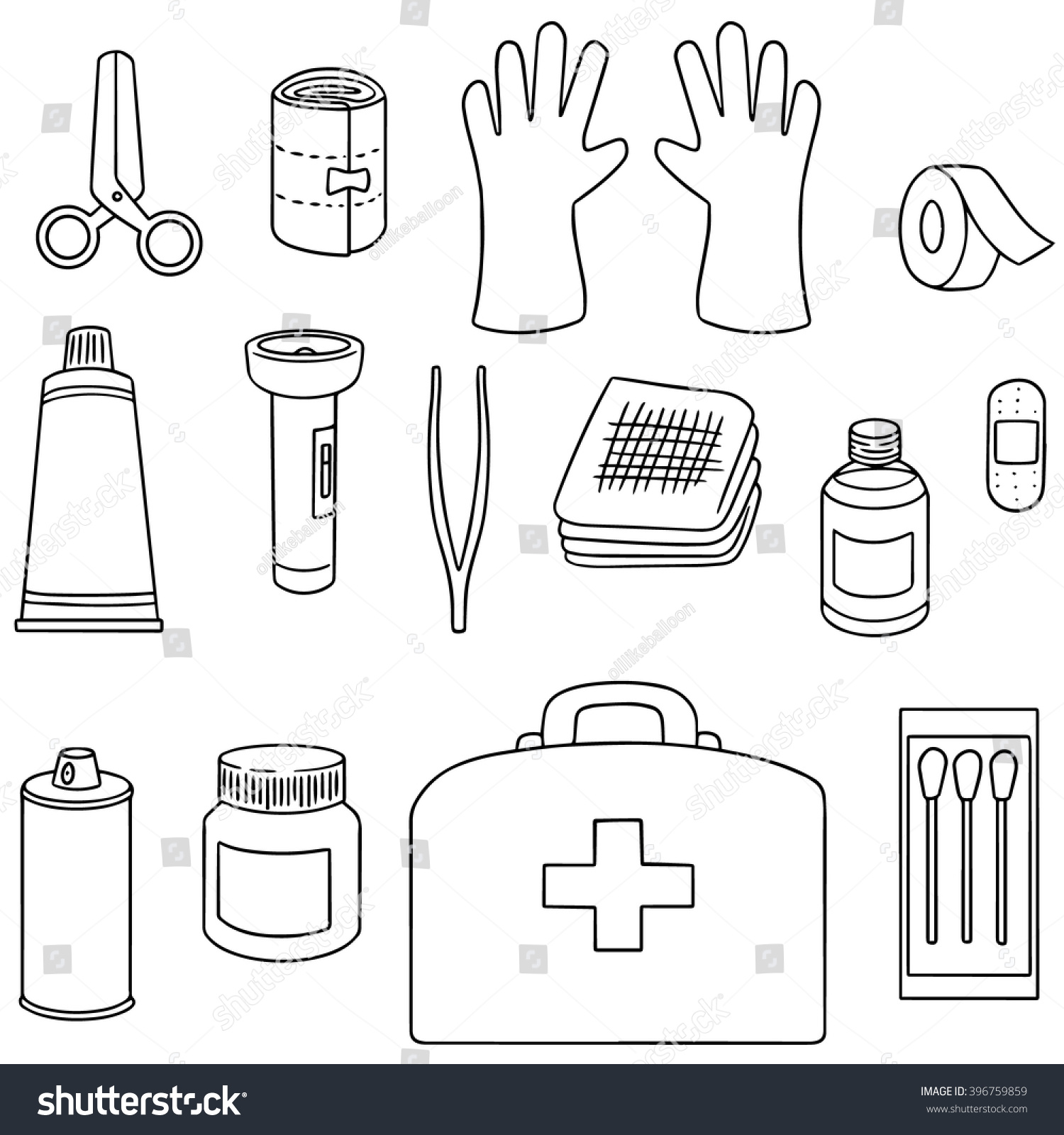 Free Coloring Pages About First Aid: Vector Set First Aid Kit Stock Vector 396759859