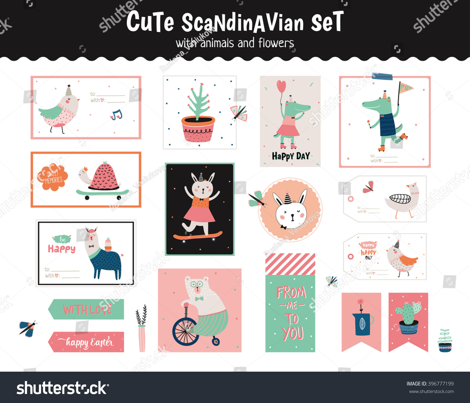 Cute scandinavian set greeting cards gift stock vector 396777199 cute scandinavian set of greeting cards gift tags stickers and labels templates with funny negle Image collections
