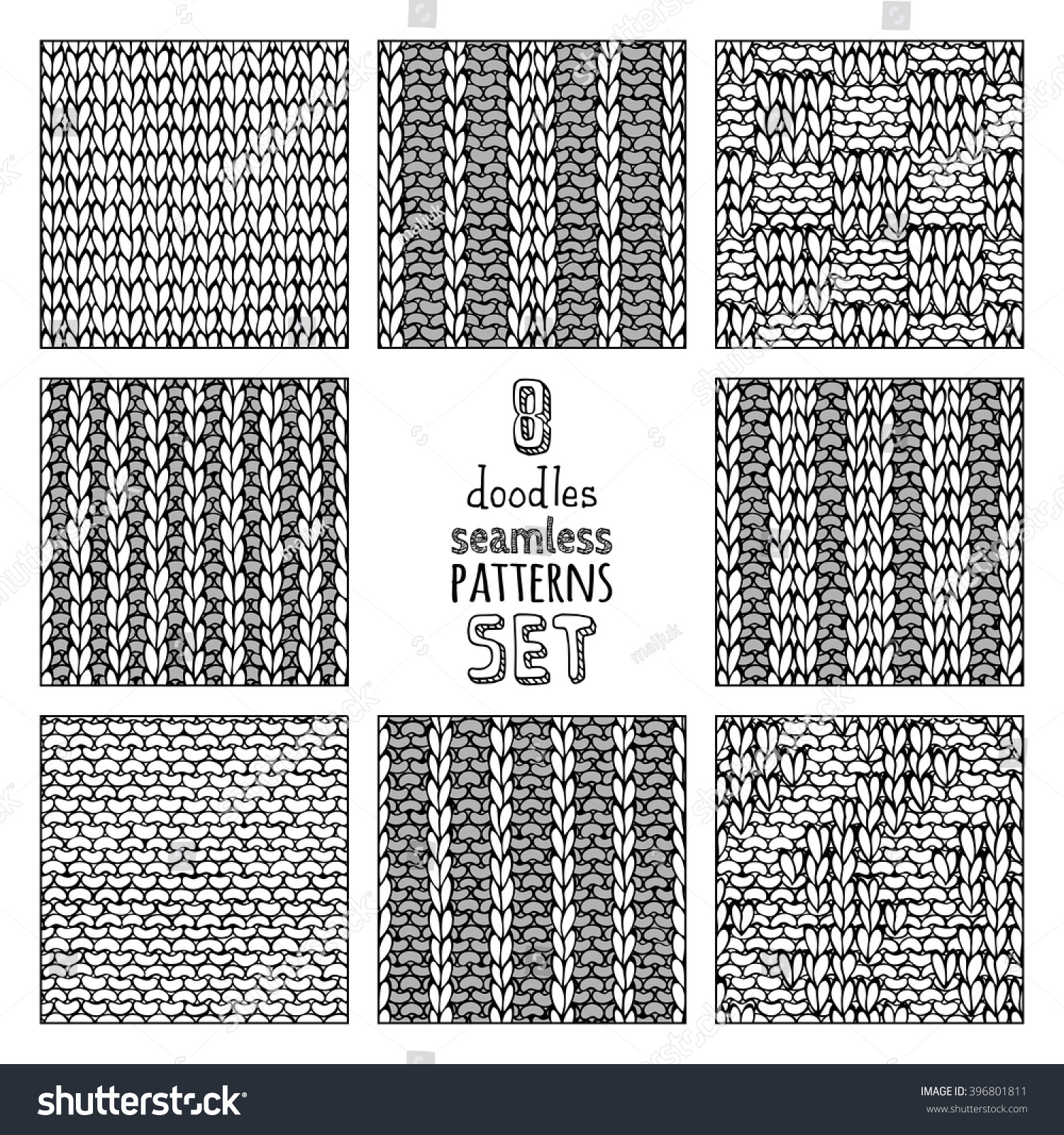 Knitting Vector Patterns : Vector set various doodles stitch patterns 스톡 벡터
