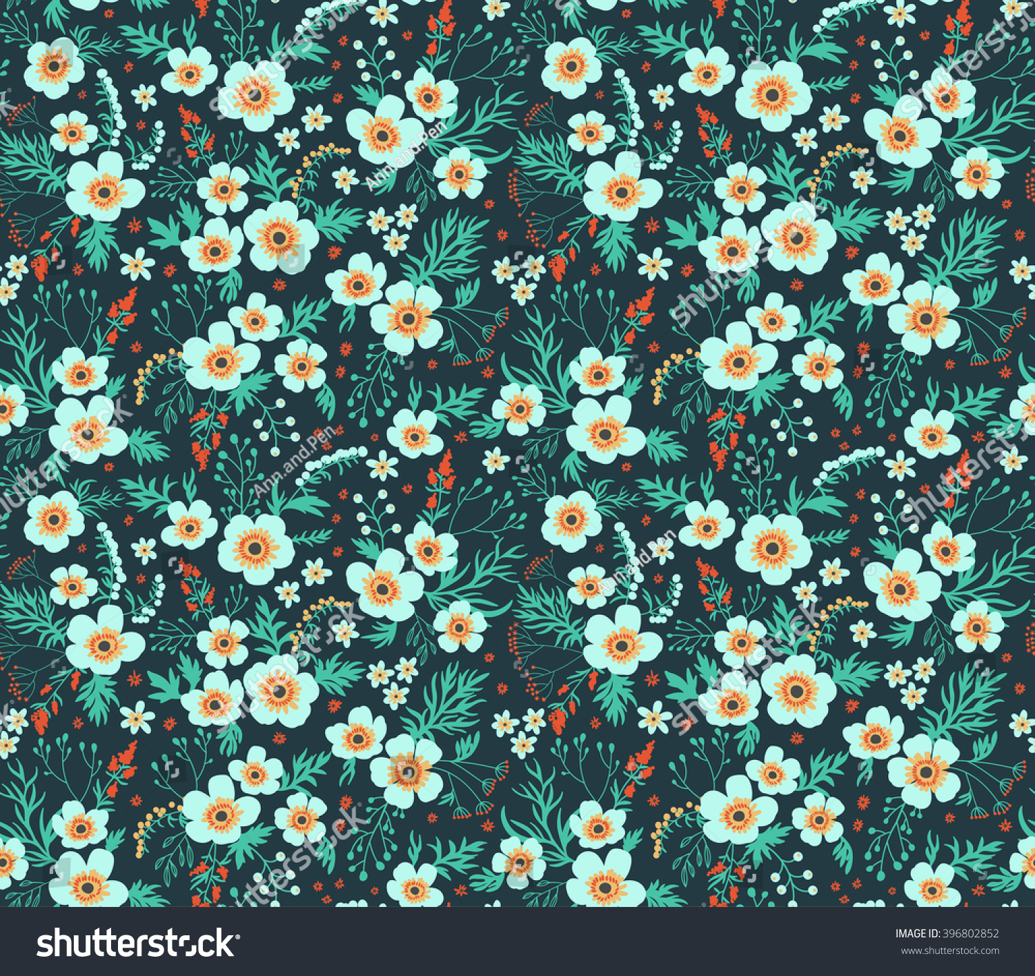cute pattern in small flower small blue flowers dark
