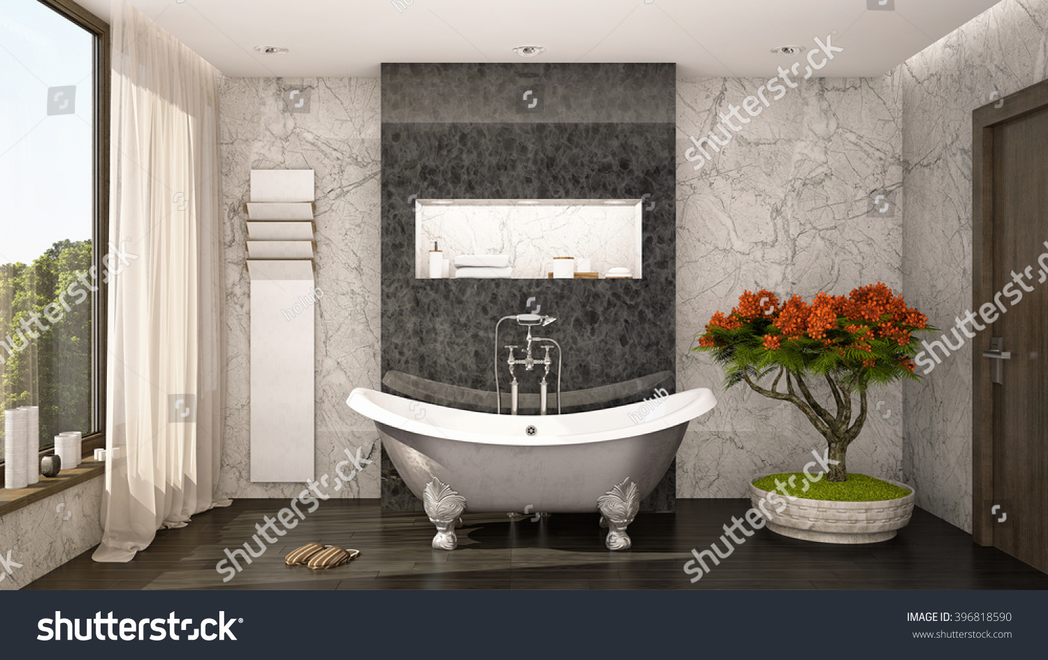 Glamour Bathroom With Big Greenery 3D Rendering / 3D Illustration