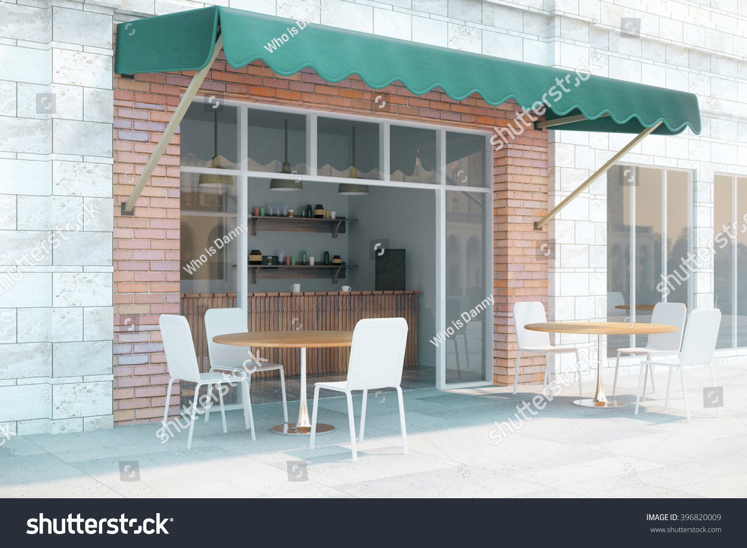 Small cafe brick walls green canopy stock photo 396820009 for Cafe exterior design