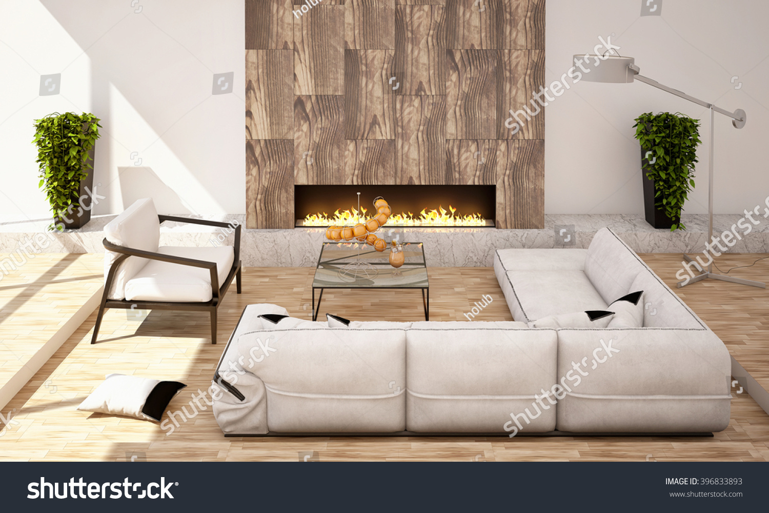Living Room Fireplace Big Sofa Armchair Stock Illustration 396833893 Shutterstock