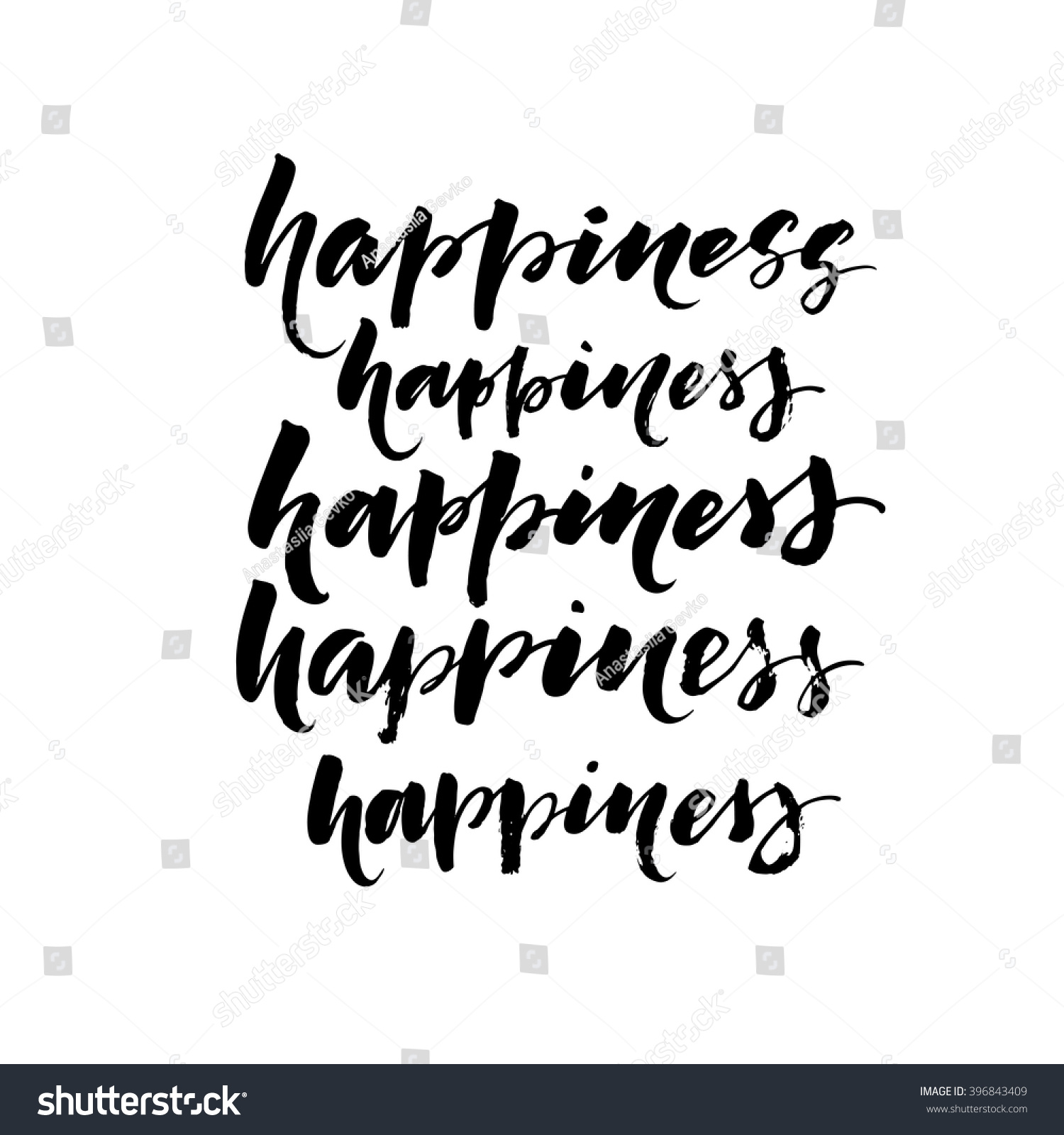 Collection hand drawn words happiness ink stock vector