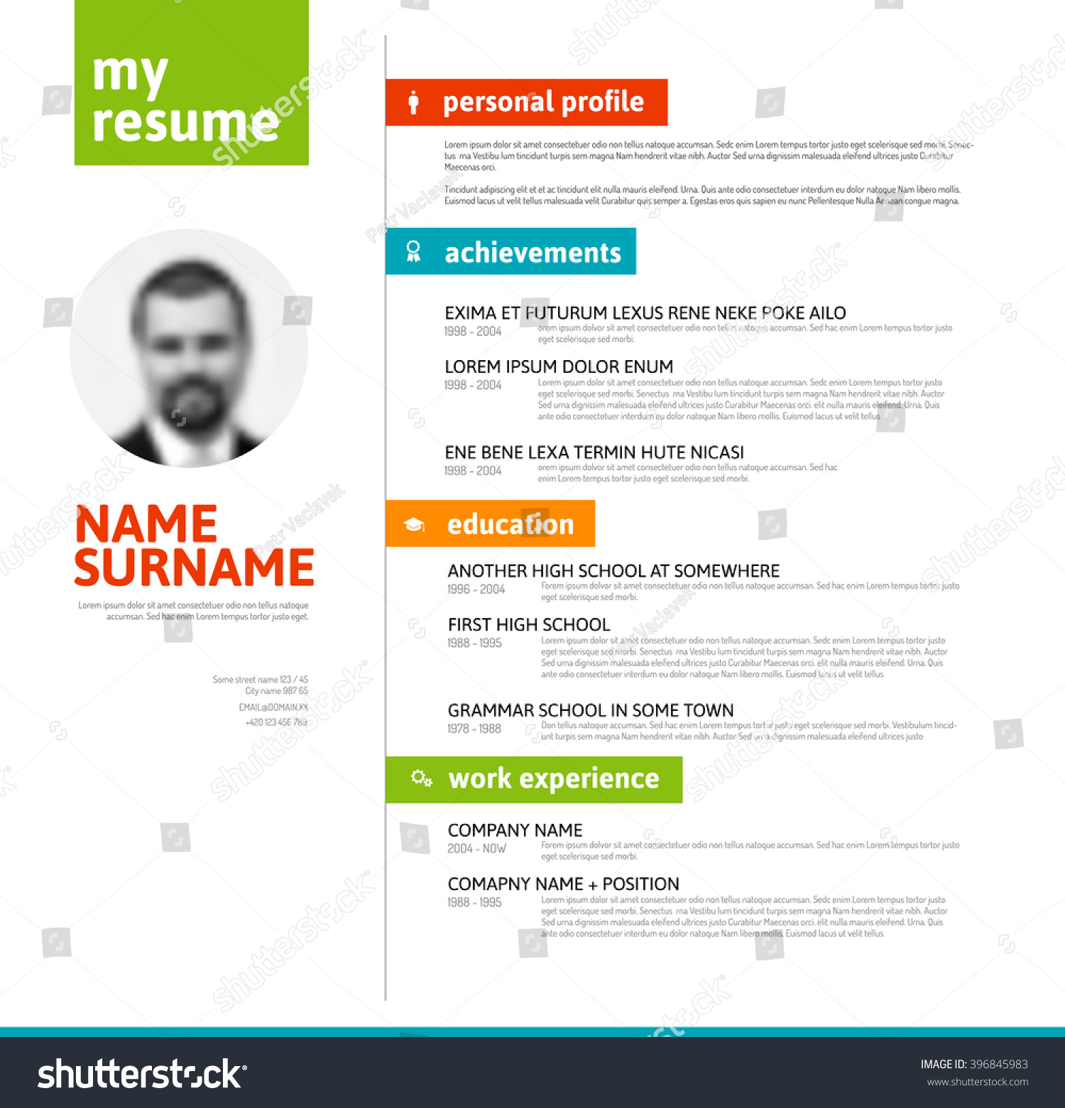 vector mini st cv resume template nice stock vector  vector mini st cv resume template nice typogrgaphy colorful design