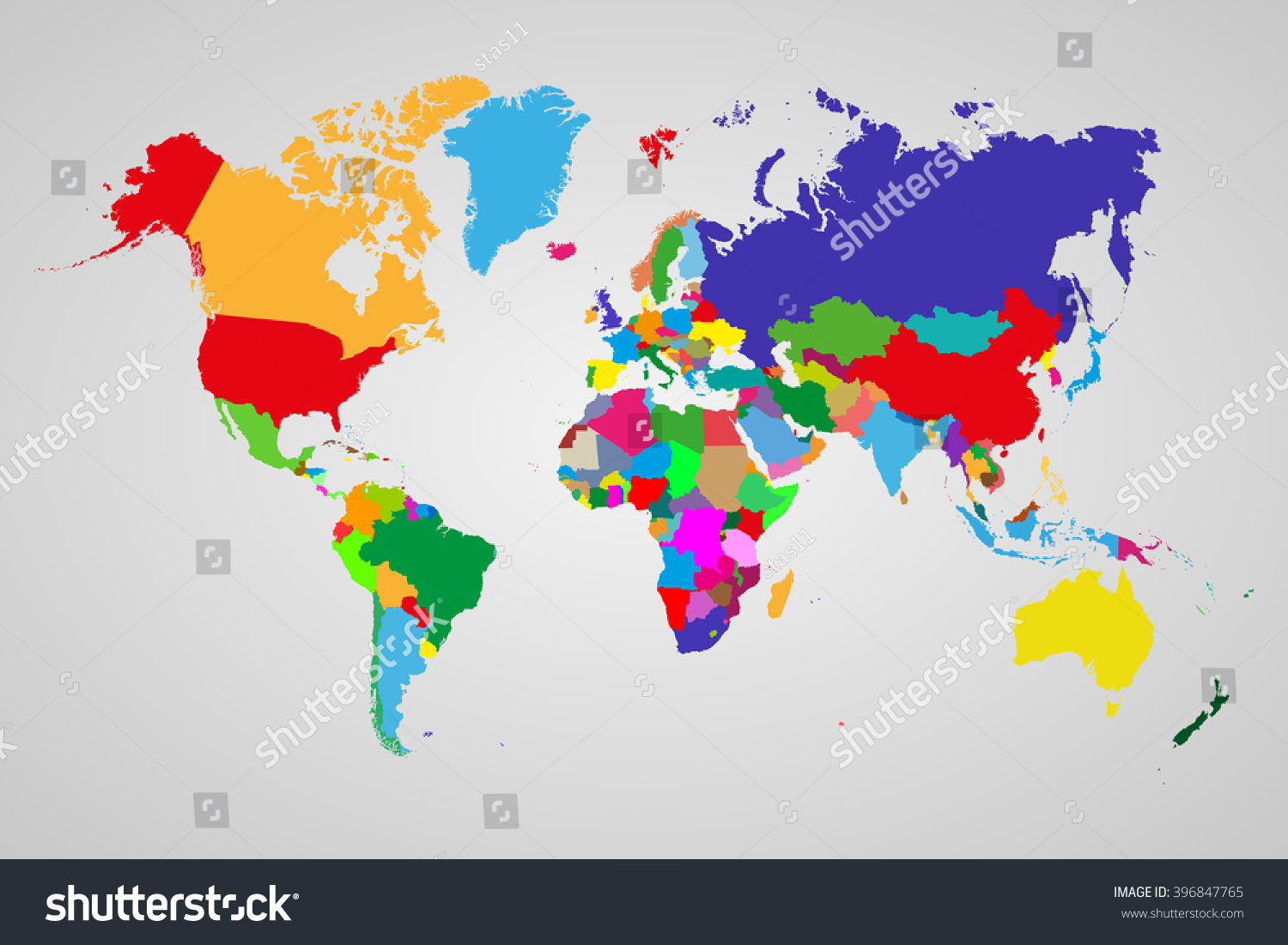 Colored Political World Map Sovereign Countries Stock Vector - World map political