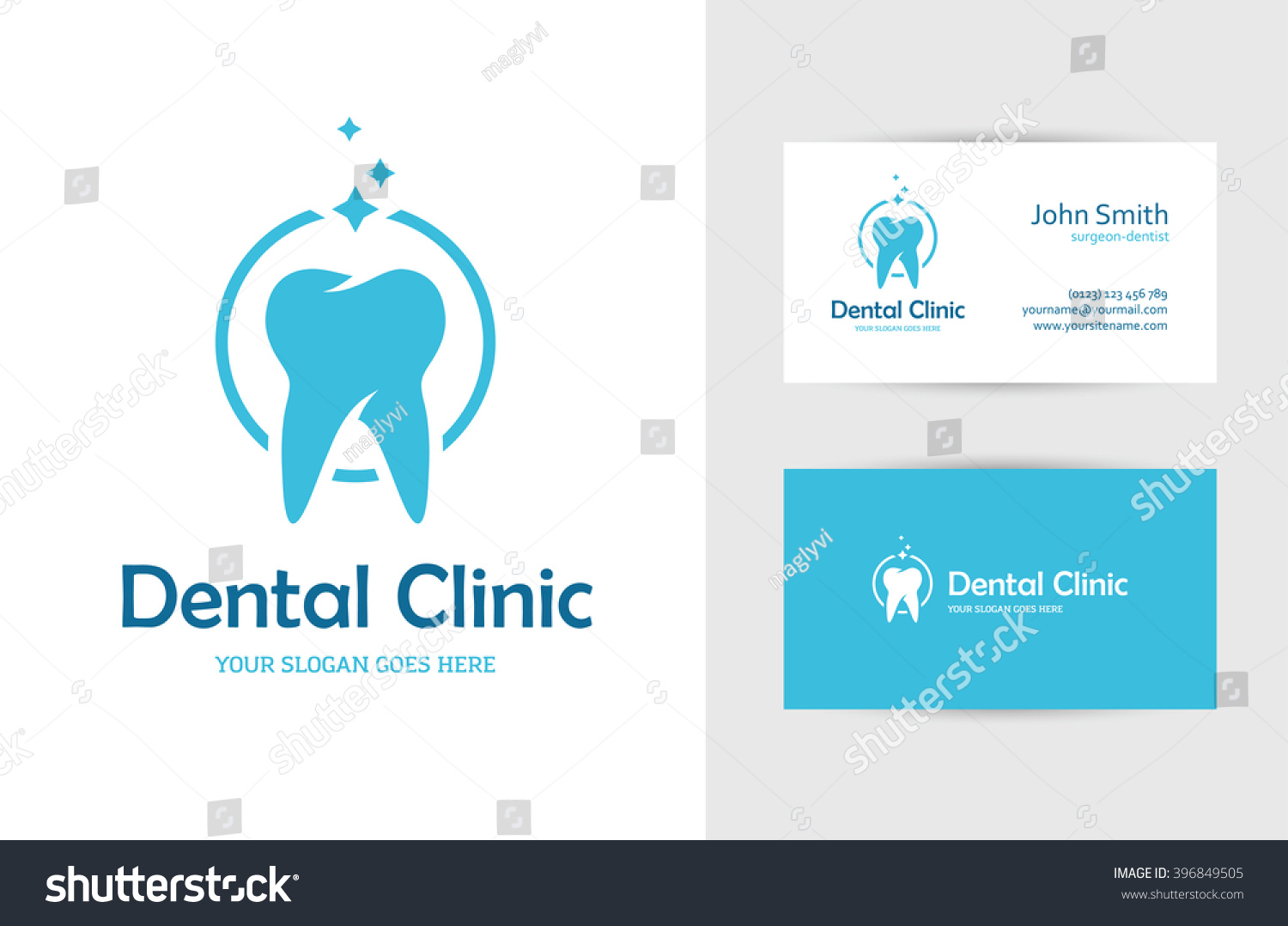 blue round logo tooth business card stock vector 396849505 shutterstock. Black Bedroom Furniture Sets. Home Design Ideas