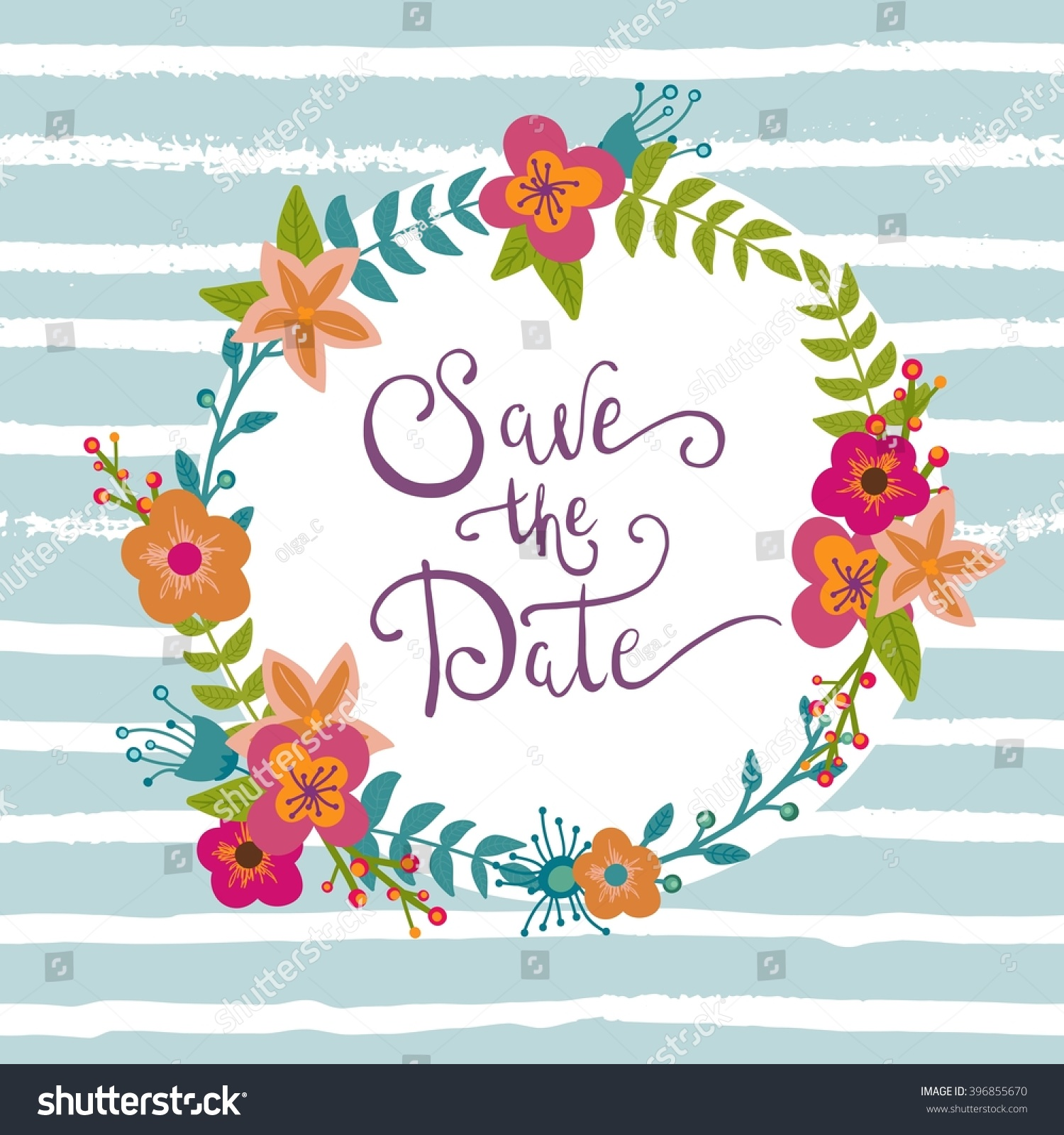 Save Date Birthday Card Wedding Wreath Stock Vector