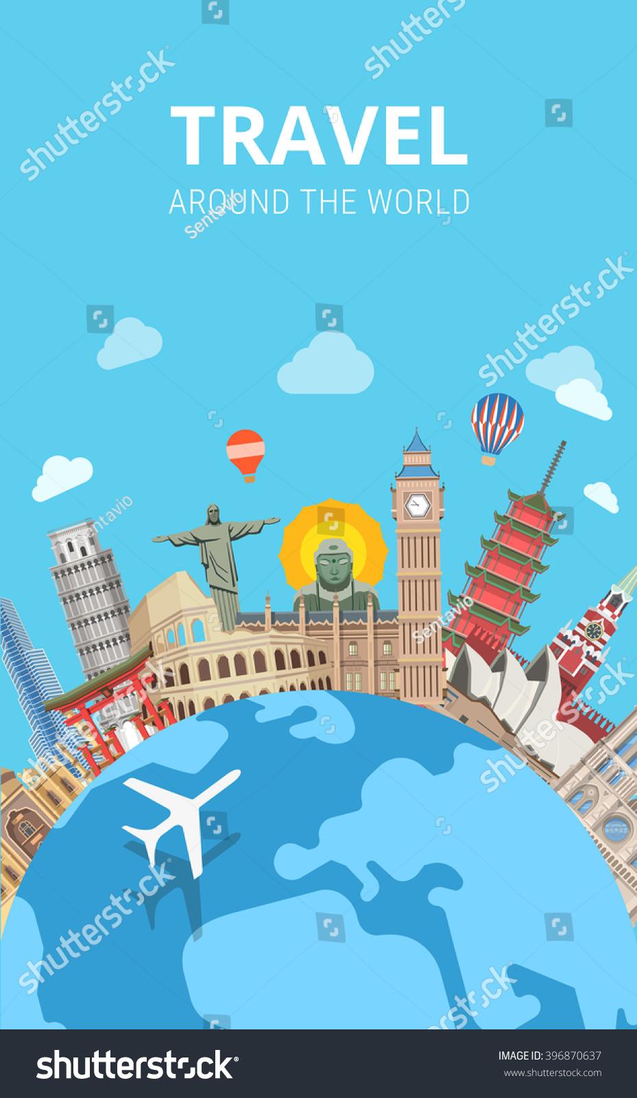 Travel around world sightseeing template flyer stock for Around the world cruise