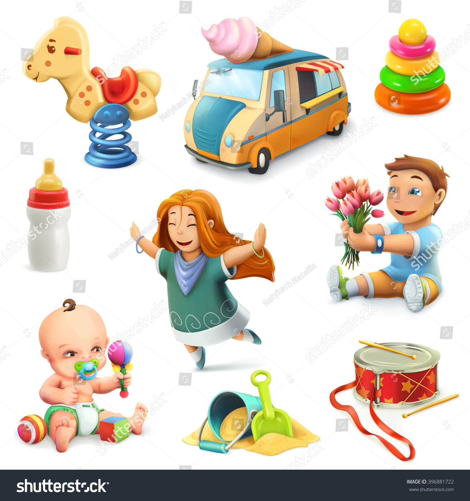 Kids Toys Set Vector Icons Stock Vector Shutterstock
