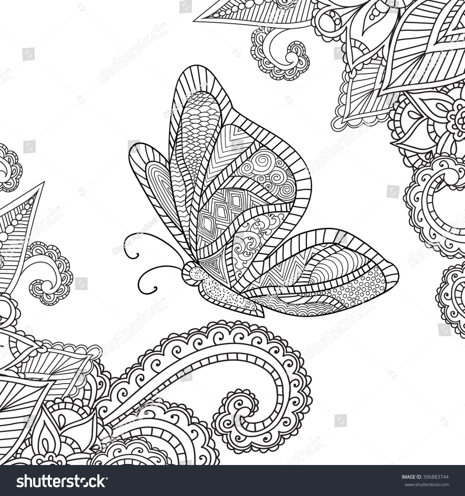 Coloring Pages Adults Doodles Abstract Floral Design Stock Vector ...
