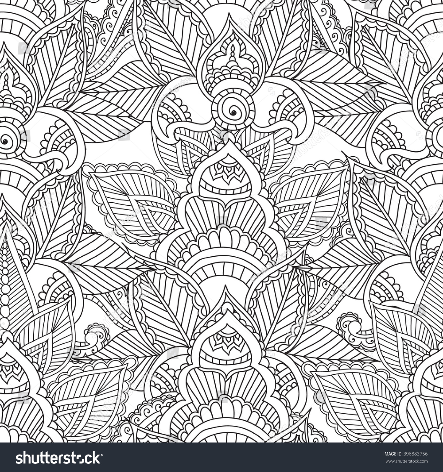 Coloring Pages For AdultsSeamless PatternHenna Mehendi Doodles Abstract Floral Paisley Design Elements