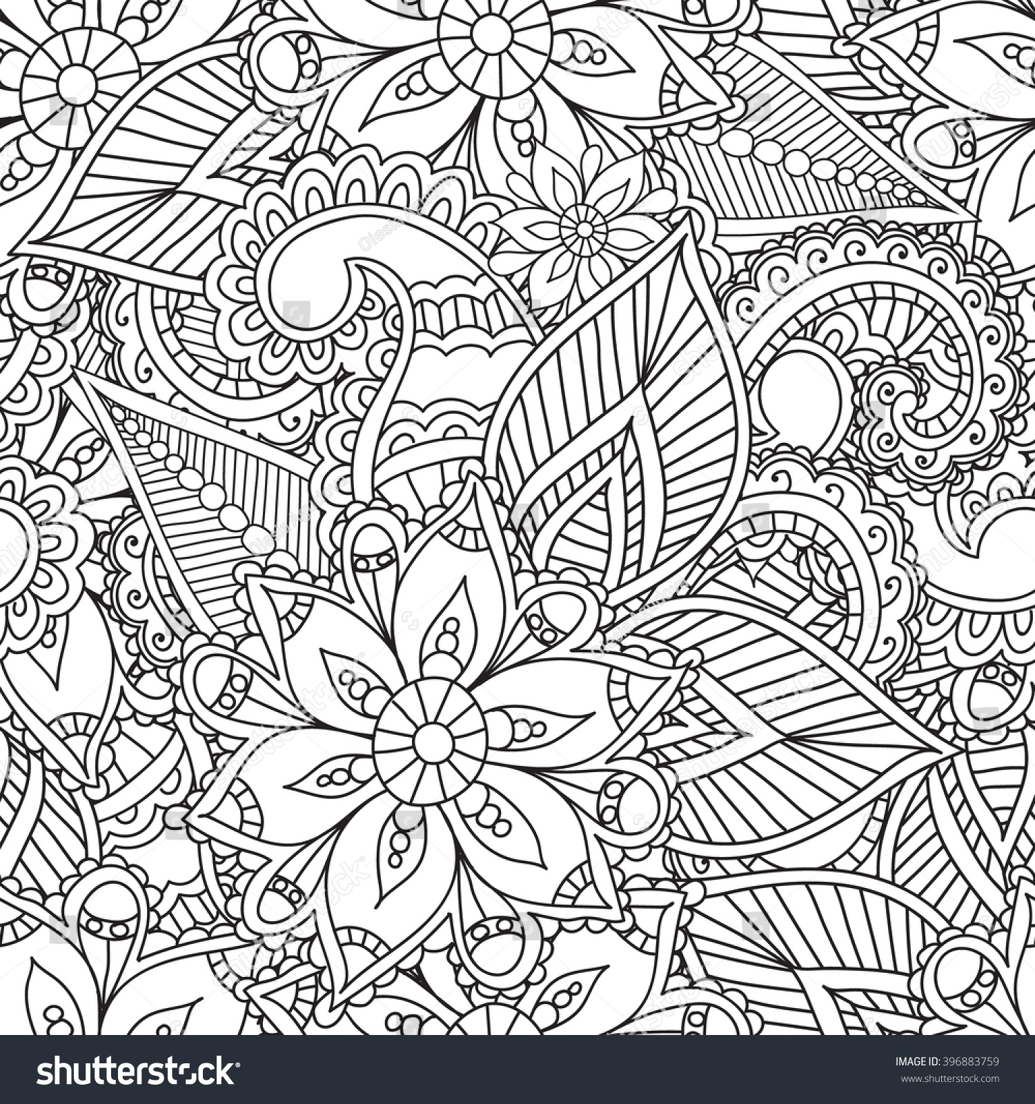 Coloring pages adultsseamless patternhenna mehendi doodles for Henna coloring pages