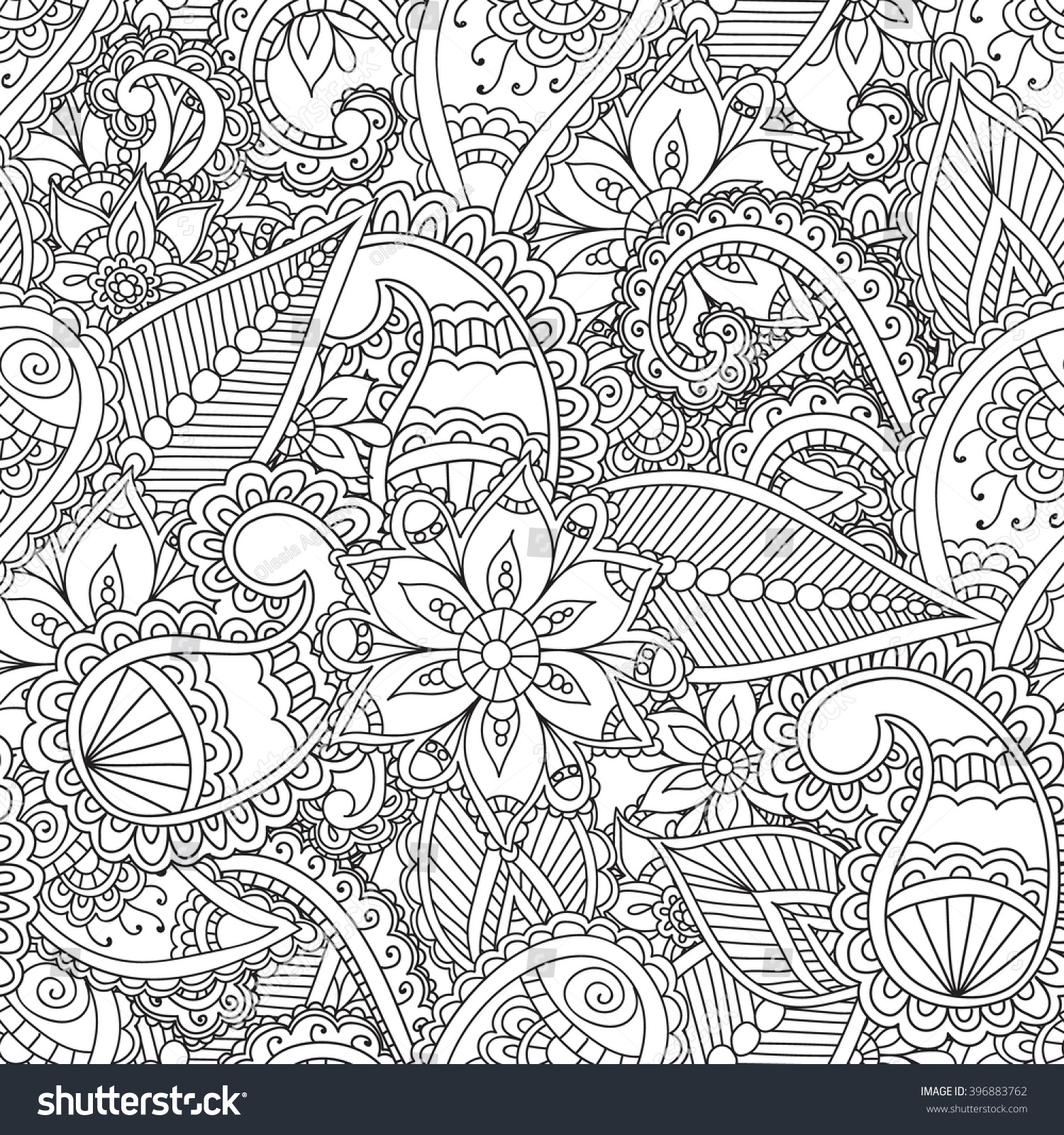Coloring Pages Adults Seamless Pattern Henna Mehendi Doodles Stock ...