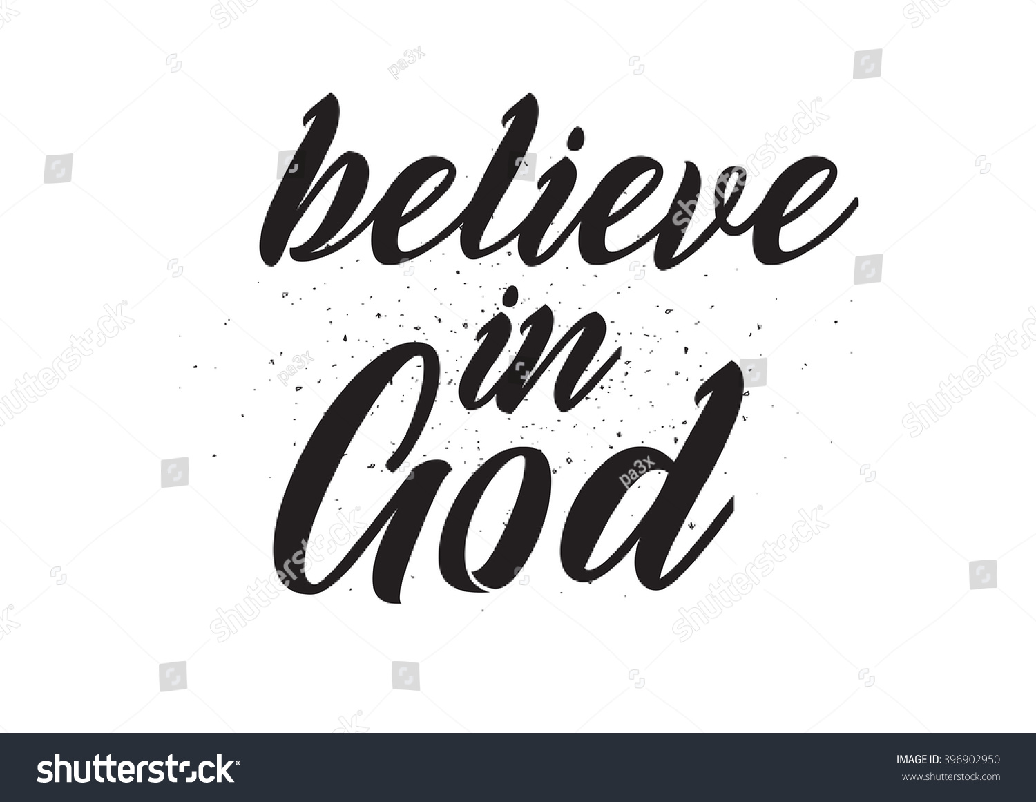 Believe god inscription greeting card calligraphy stock