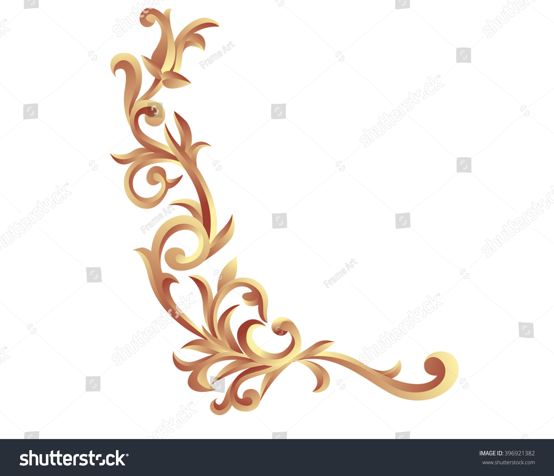 Corner Gold Vintage Baroque Frame Scroll Ornament Engraving Border Floral Retro Pattern Antique Style Acanthus Foliage Swirl Decorative Design