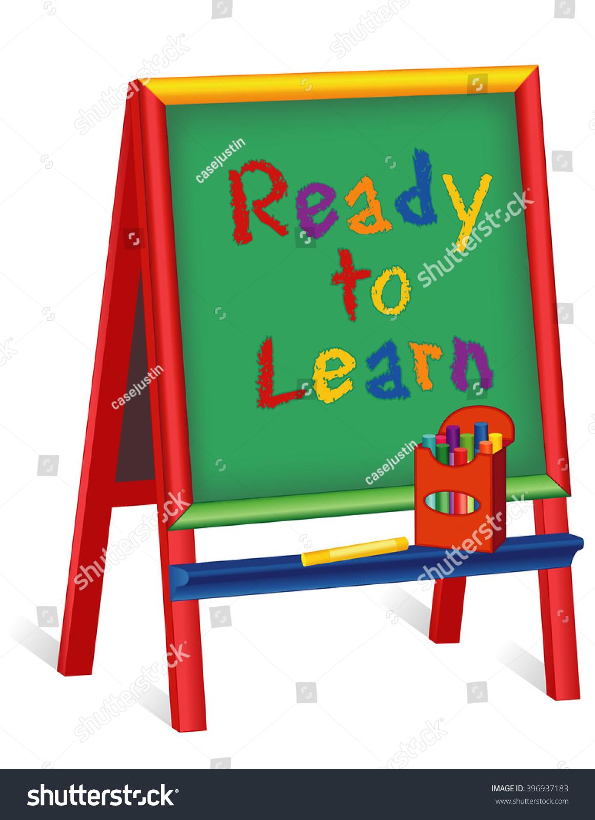 Ready Learn Green Chalkboard Wood Easel Stock Illustration 396937183 ...