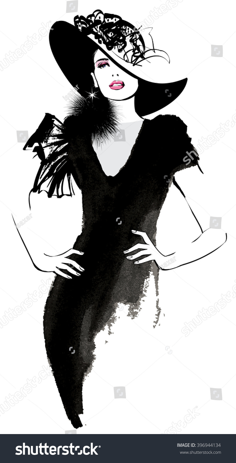 Fashion Woman Model Black Hat Vector Stock Vector -4962