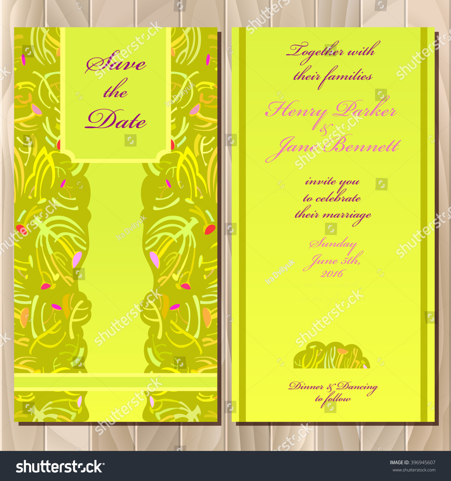 Wedding Invitation Spring Summer Green Yellow Stock Vector ...