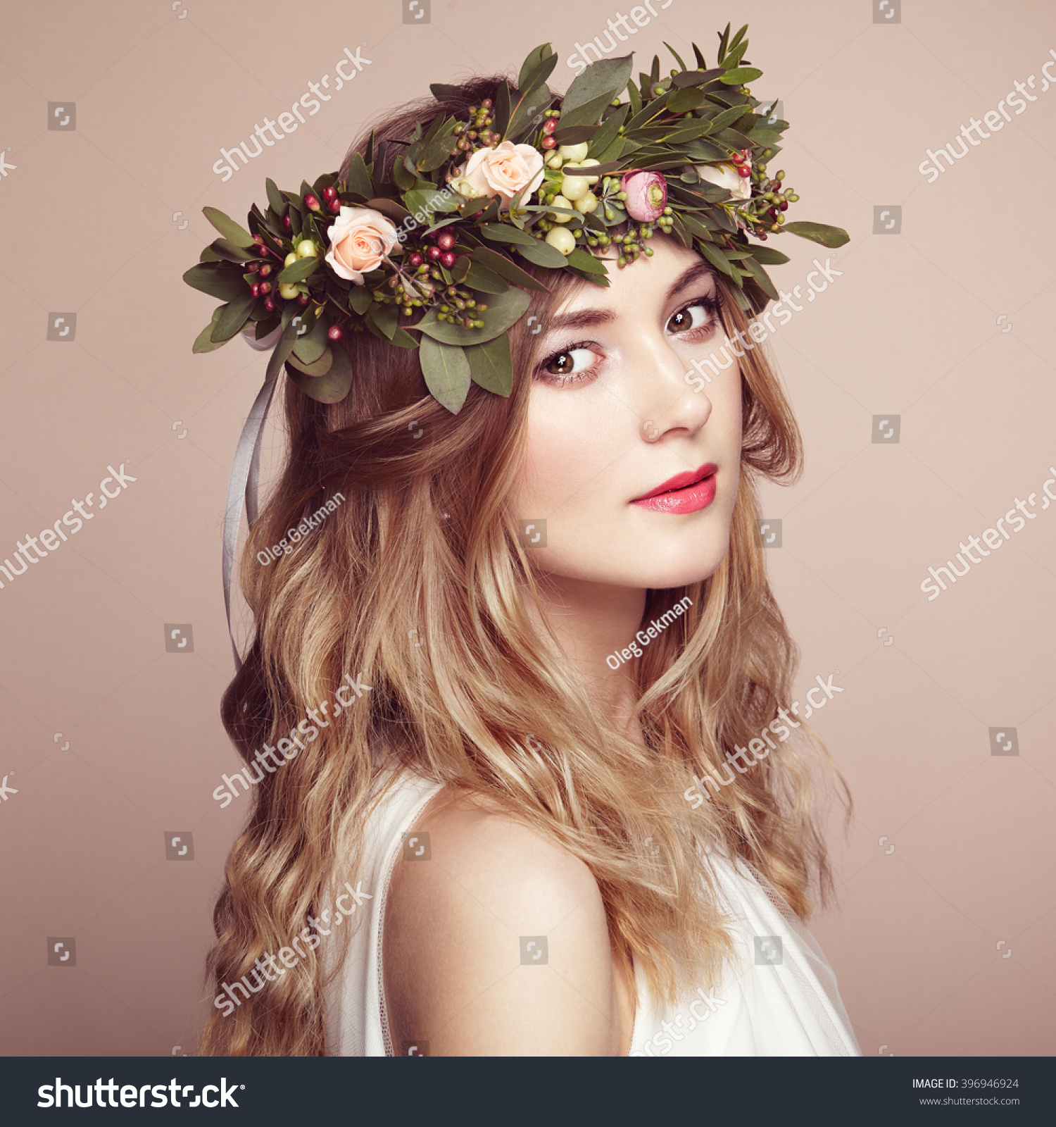 Beautiful blonde woman with flower wreath on her head beauty girl beautiful blonde woman with flower wreath on her head beauty girl with flowers hairstyle perfect makeup beauty fashion spring woman ez canvas izmirmasajfo