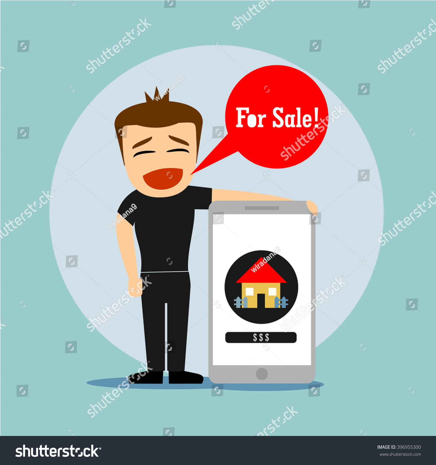 Boys cartoon character and big smart phone with icon house for sale
