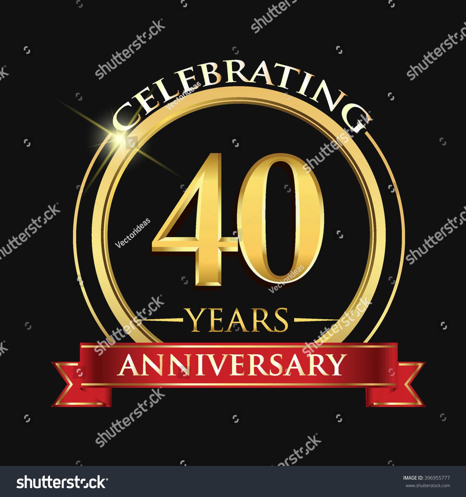 Celebrating 40 Years Anniversary Logo Golden Stock Vector