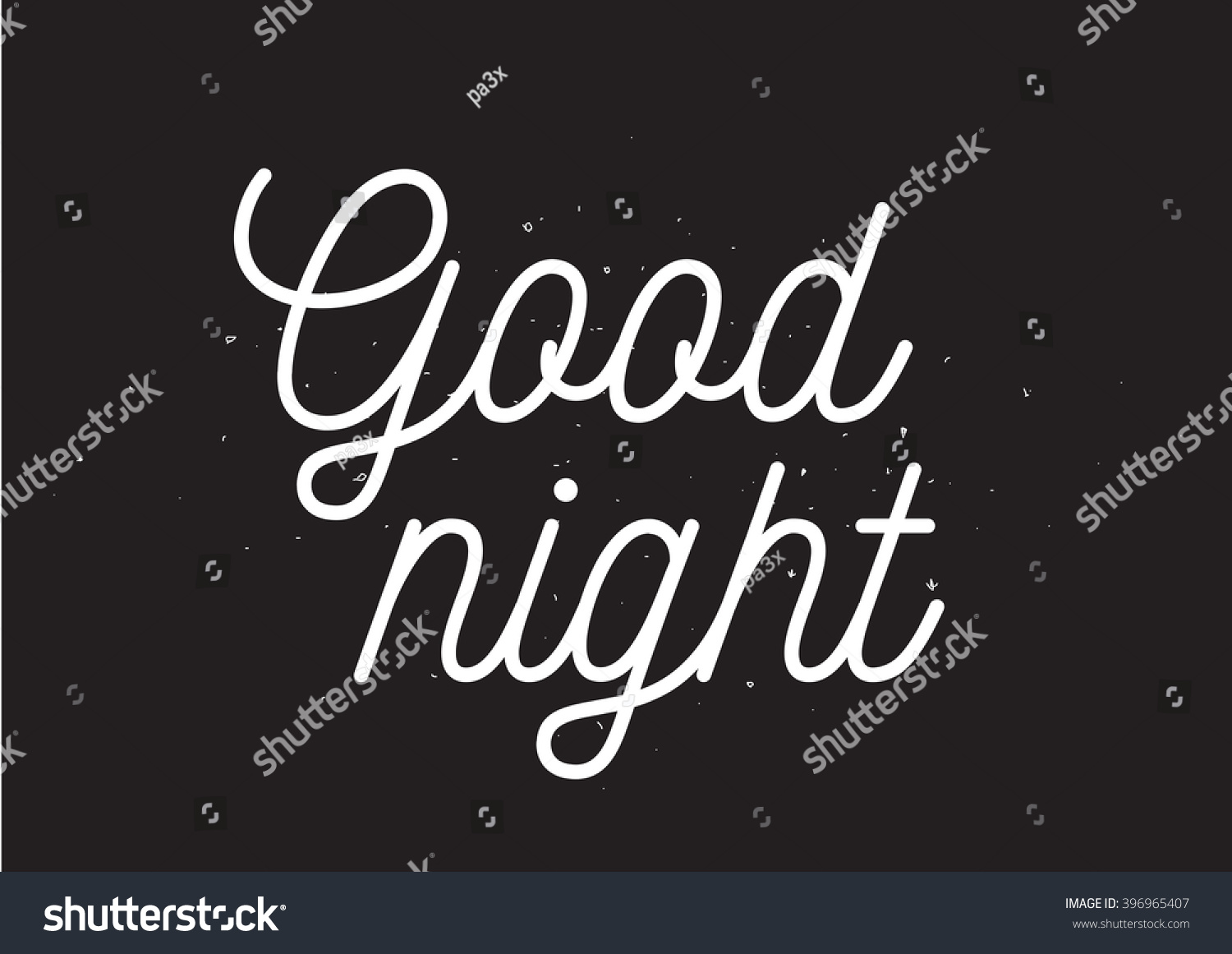 Good Night Inscription Greeting Card With Calligraphy Hand Drawn