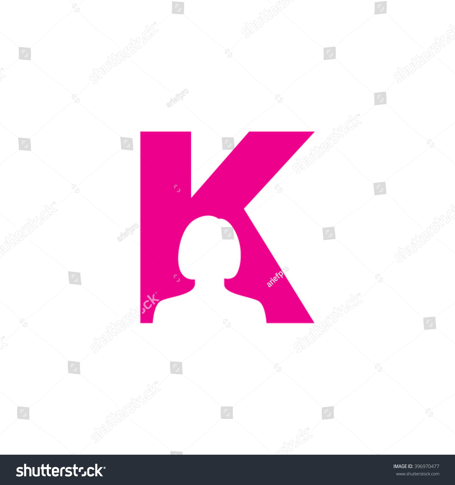 K Alphabet Woman Avatar Business Letter Stock Vector (Royalty Free ...