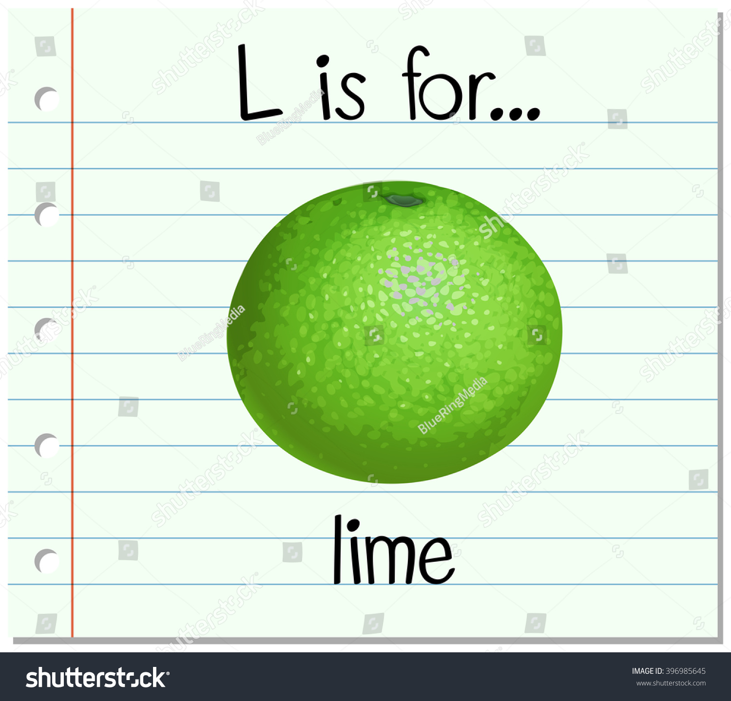 Flashcard Letter L Lime Illustration Stock Vector (Royalty Free ...