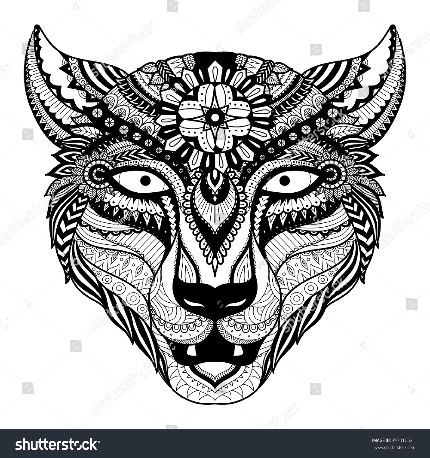 Line Art T Shirt Design : Leopard line art design coloring book stock vector