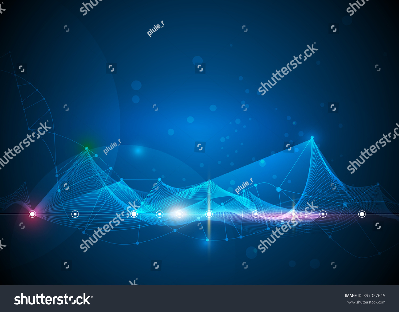 3d Blue Abstract Mesh Background Circles Stock Vektor