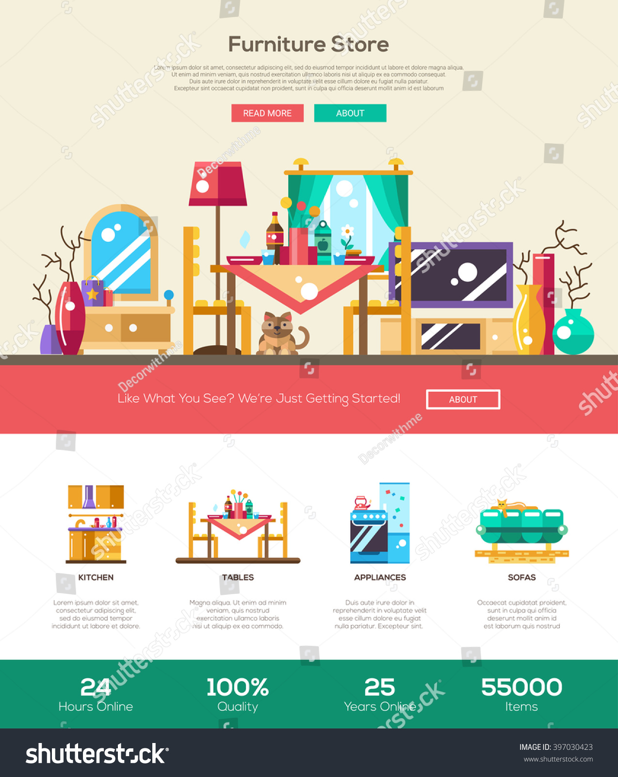 house interior domestic furniture online store stock vector 397030423 shutterstock. Black Bedroom Furniture Sets. Home Design Ideas