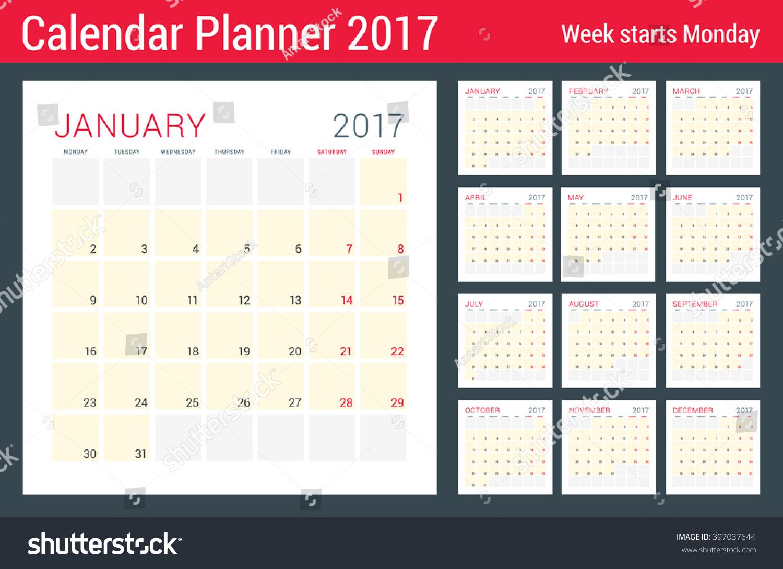 Calendar Organizer Design : Calendar planner year vector flat stock