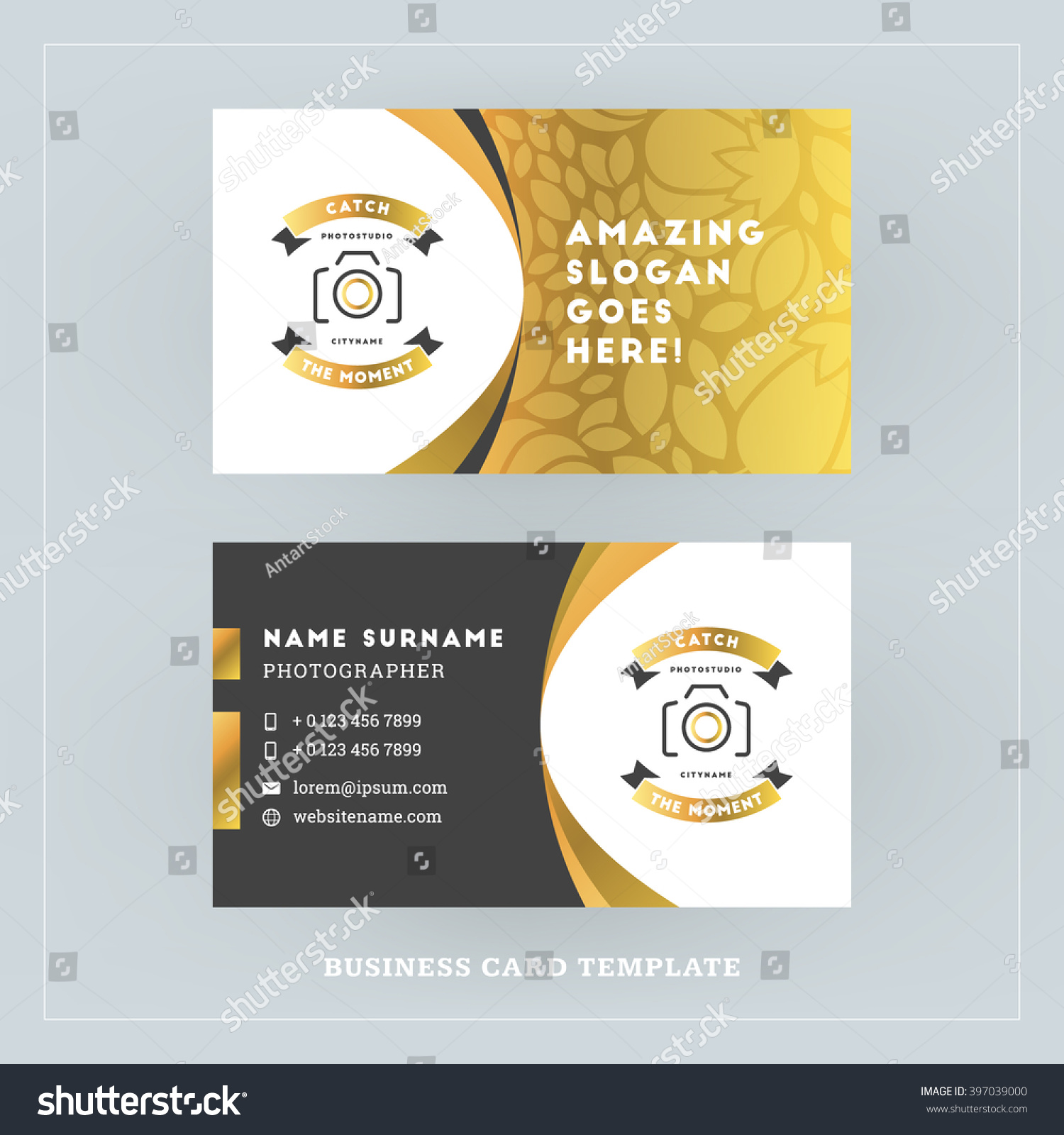 Golden Black Business Card Design Template Stock Vector 397039000 ...