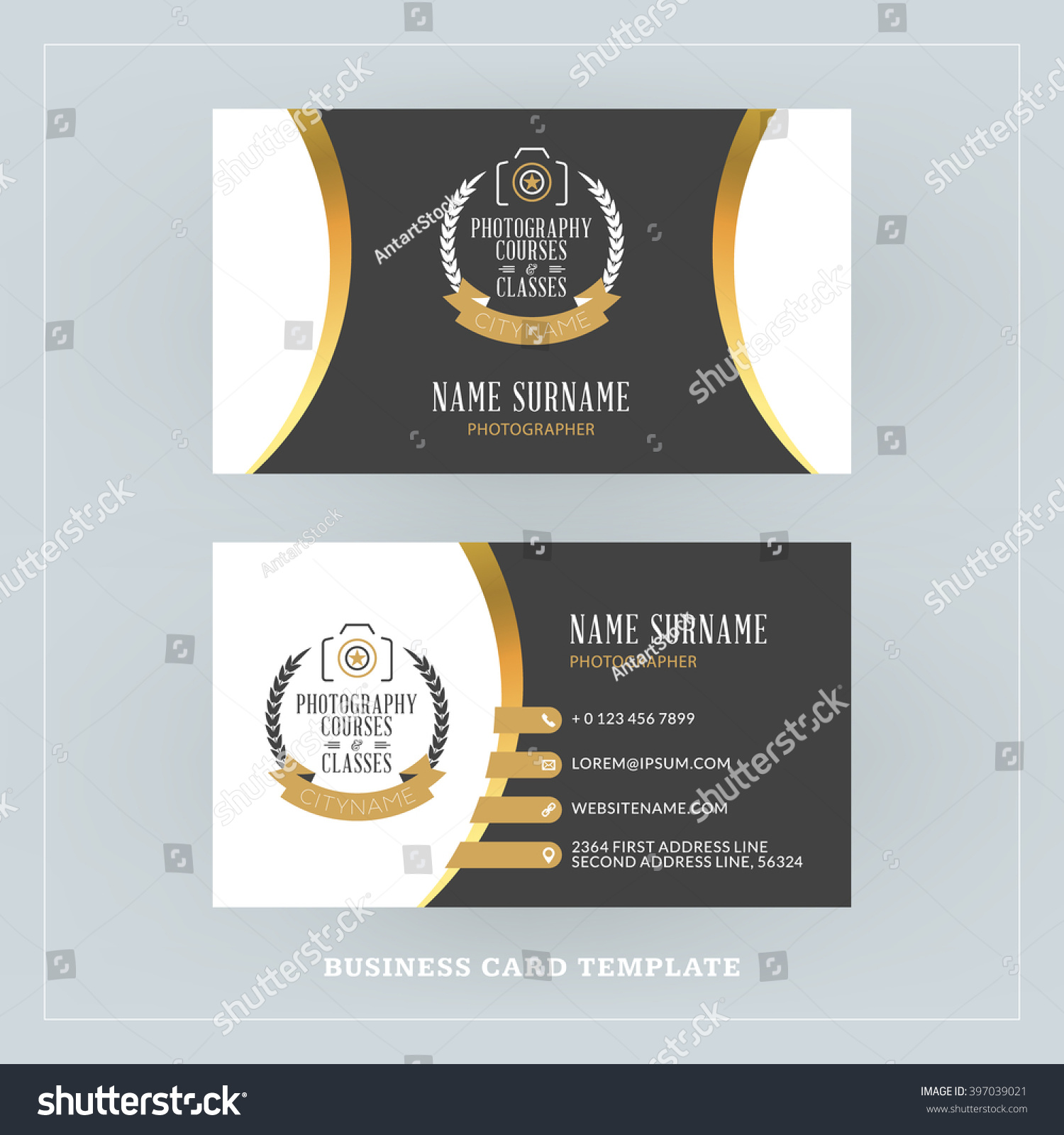 Golden Black Business Card Design Template Stock Photo (Photo ...
