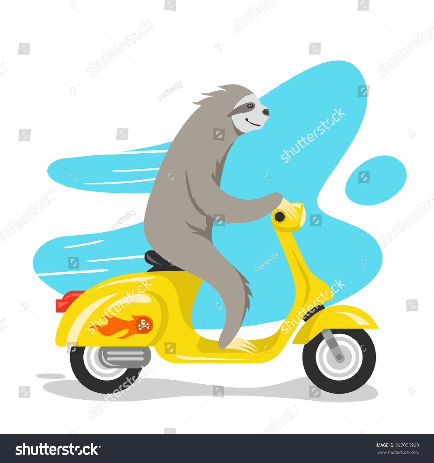 Vector Illustration Happy Cute Sloth Riding Stock Vector 397055920 ...
