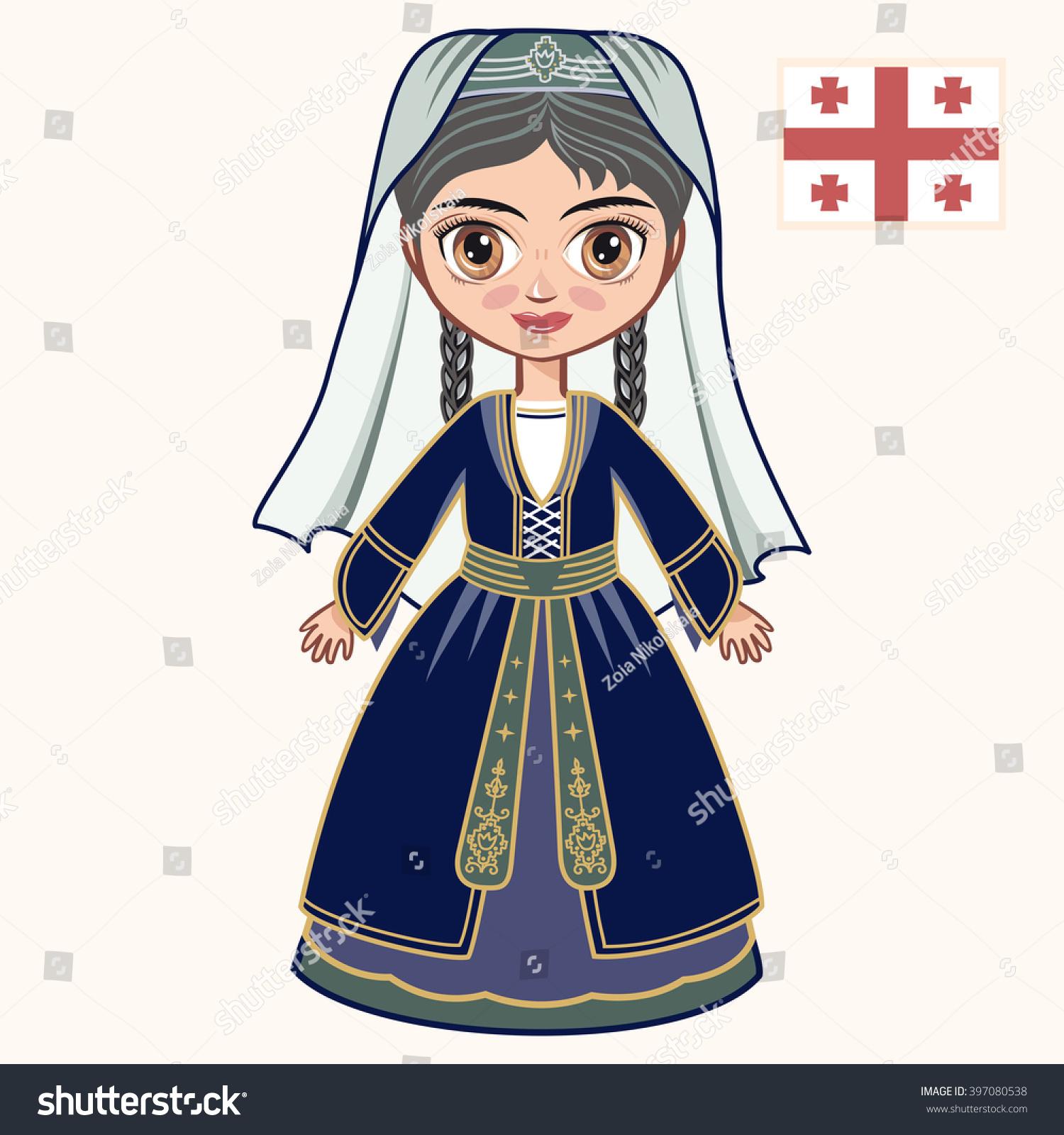 Girl Georgian Dress Historical Clothes Georgia Stock Vector ...