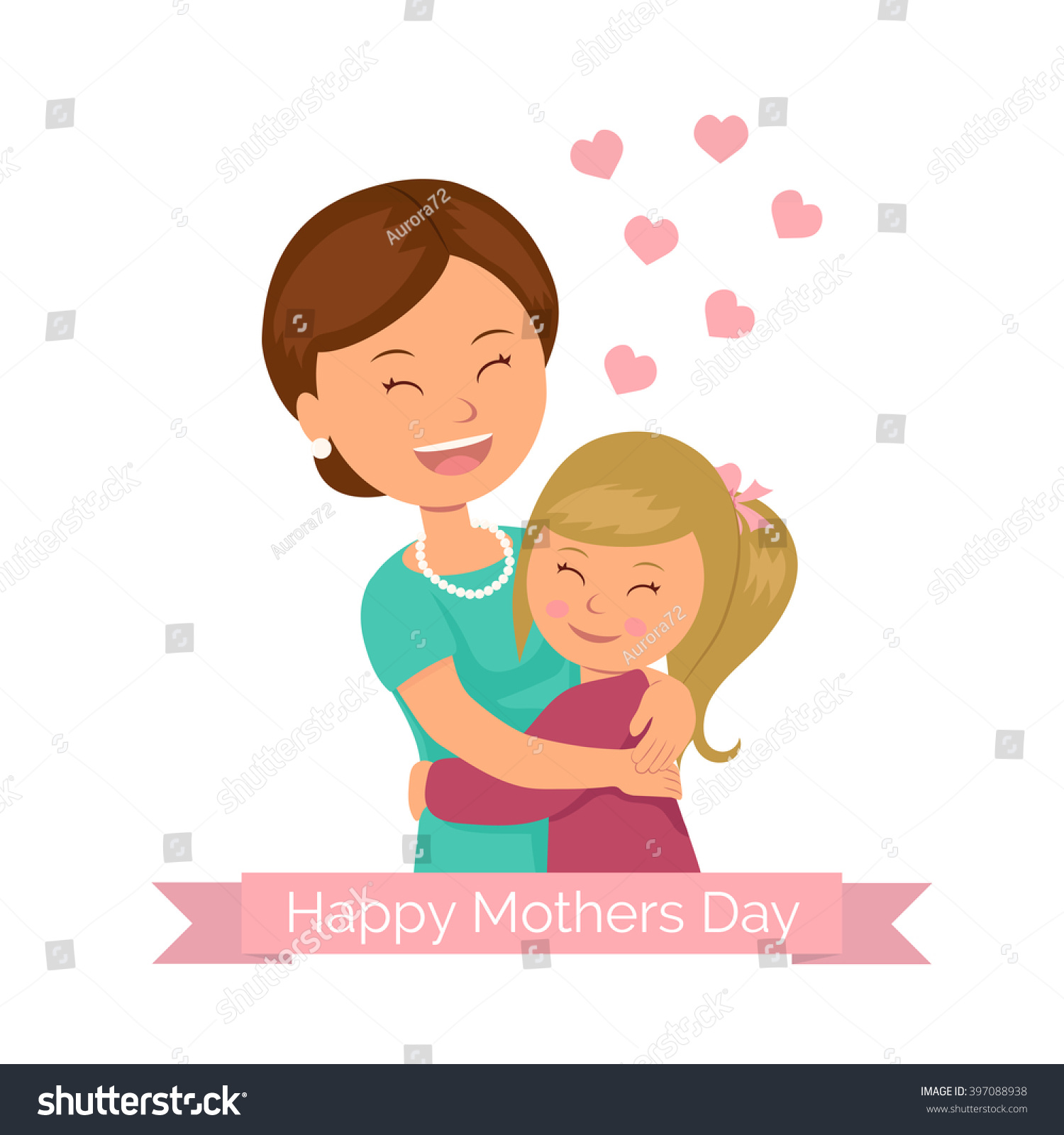 Template Greeting Mothers Day Daughter Hugging Stock Vector Royalty