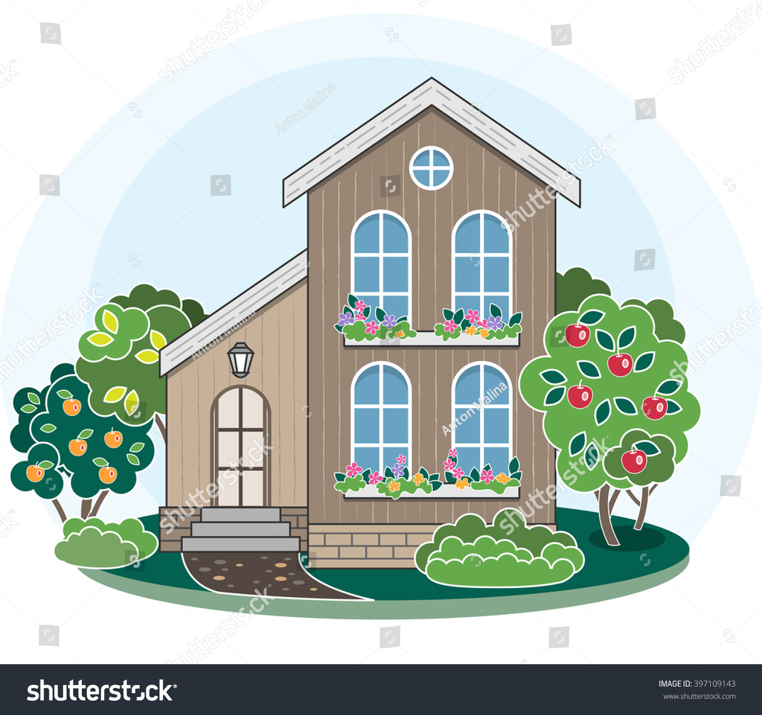 Groovy Vector De Stock Libre De Regalias Sobre Cartoon House Interior Design Ideas Gresisoteloinfo